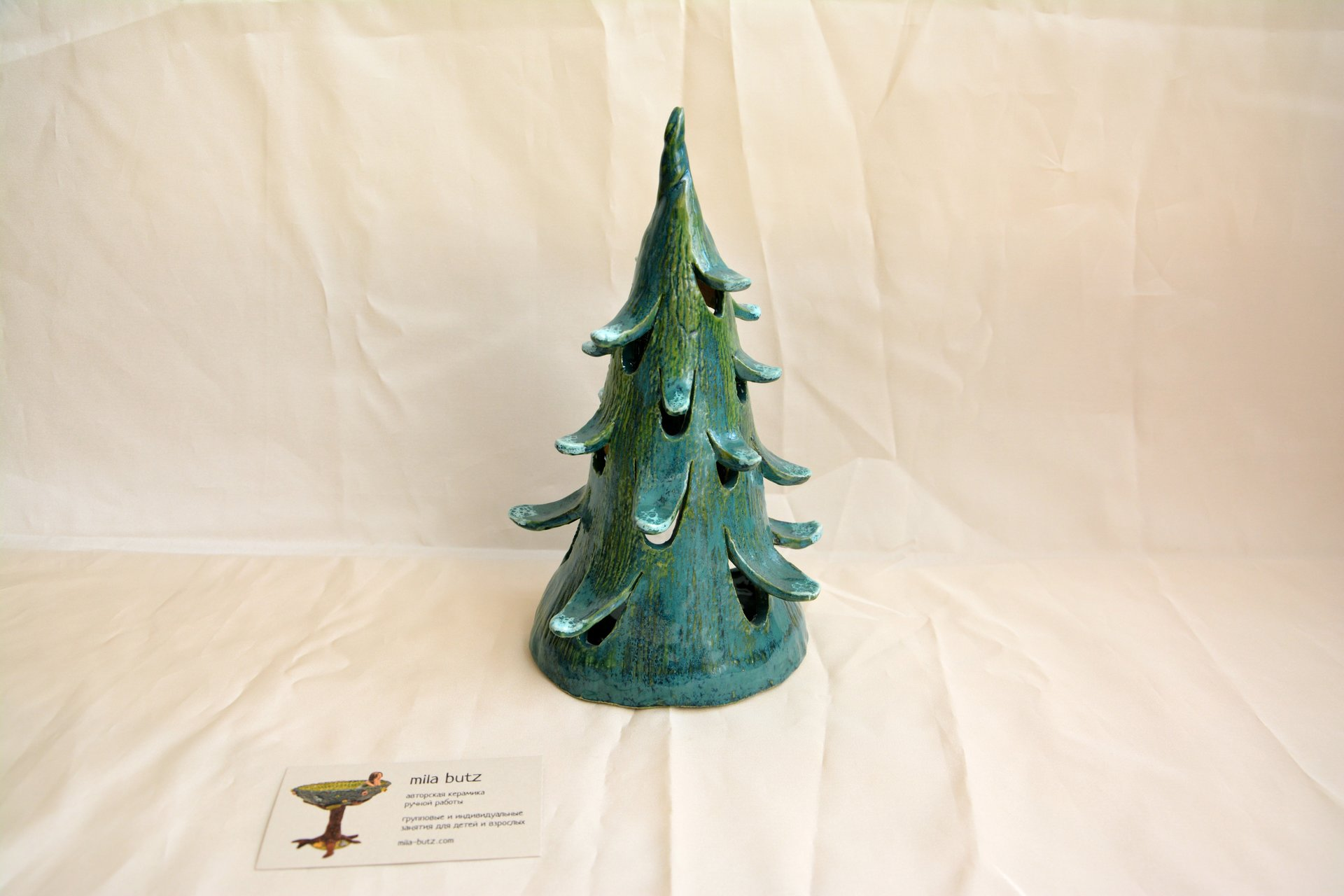Christmas tree - Ceramic new year's decor, height - 23 cm, diameter - 12 cm, photo 1 of 2.