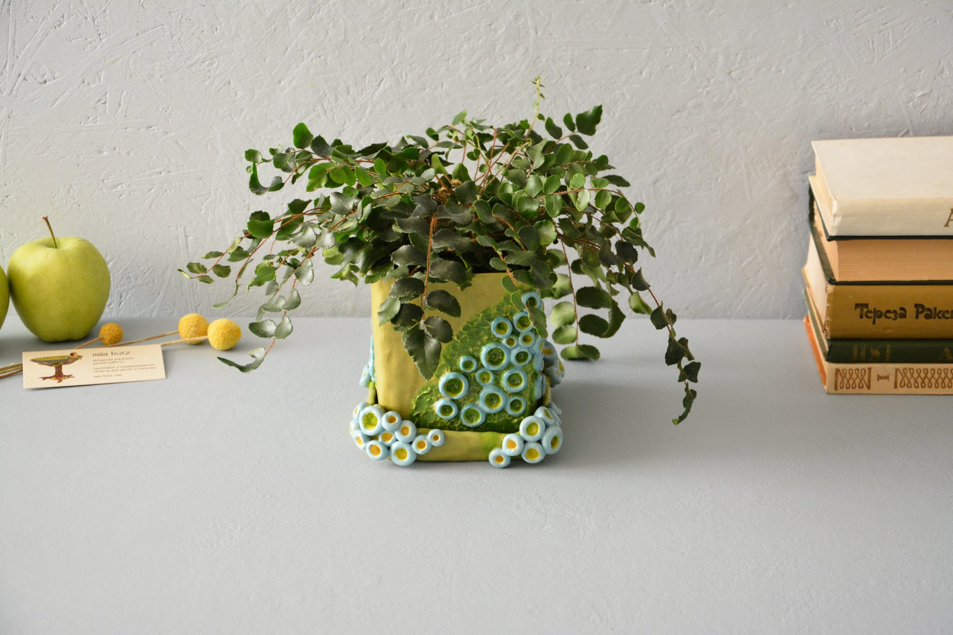 Flowers pot Green cube - Ceramic others utility, height - 12.5 cm, length-width 13 cm * 14 cm, photo 3 of 4.