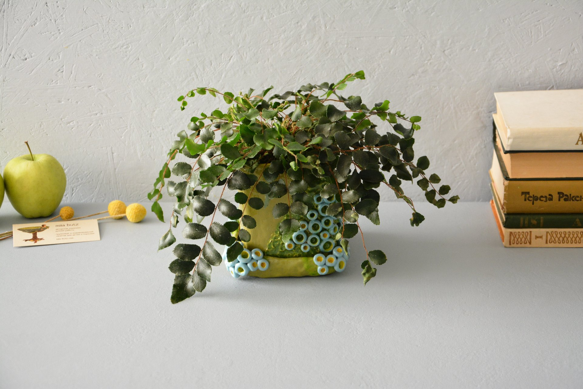 Flowers pot Green cube - Ceramic others utility, height - 12.5 cm, length-width 13 cm * 14 cm, photo 1 of 4.
