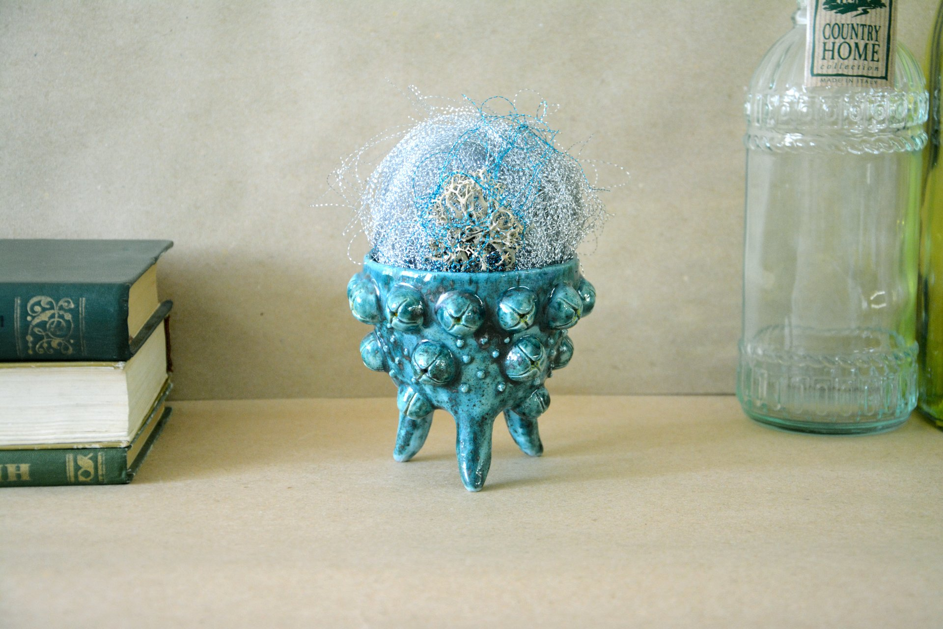 Ceramic cachepot for cactus on the legs Turquoise flicker, diameter - 10 cm, height - 9.5 cm, photo 2 of 4.