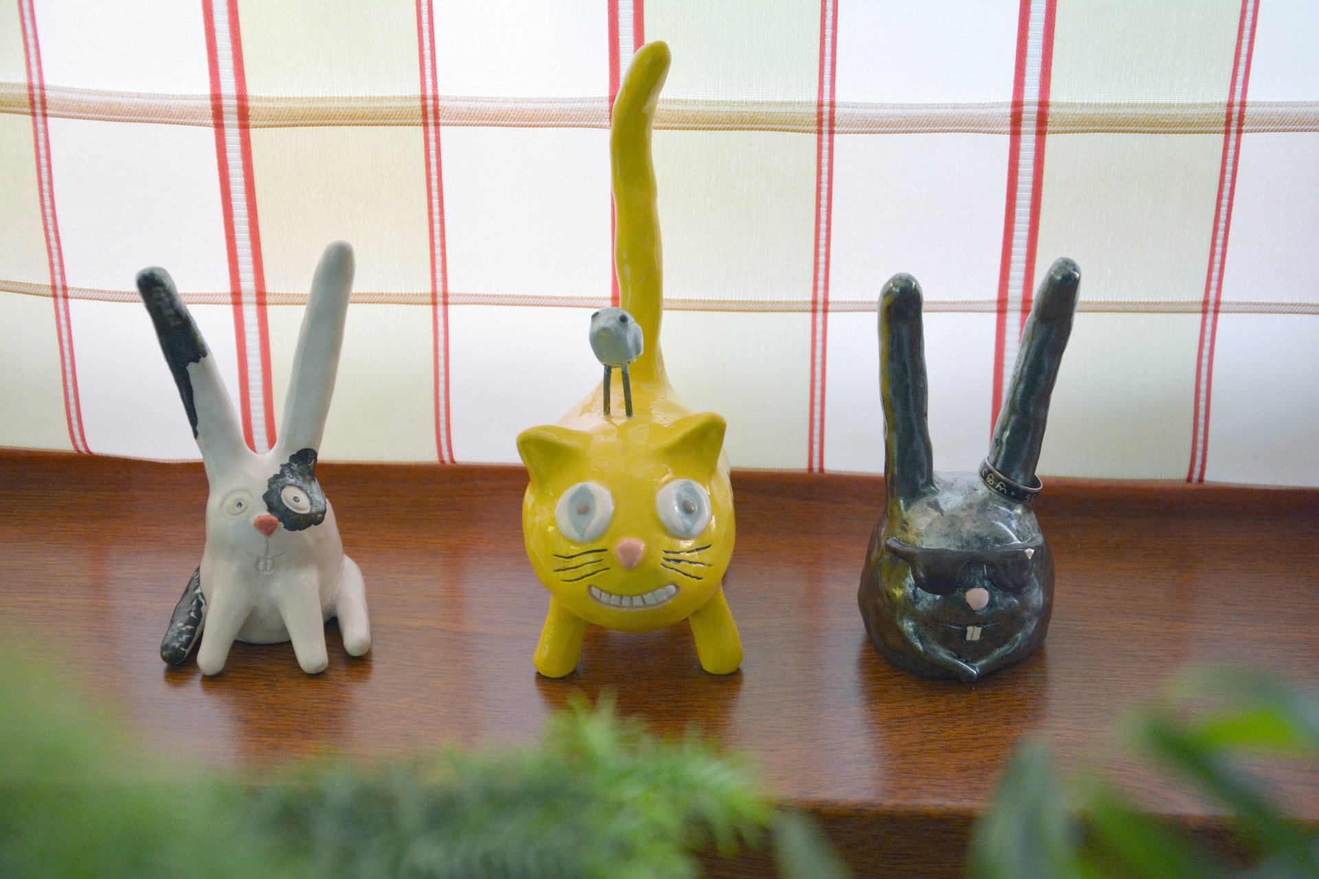Cat «Cheshire smile» - Ceramic ring's holders, height - 15 cm., photo 3 of 3.