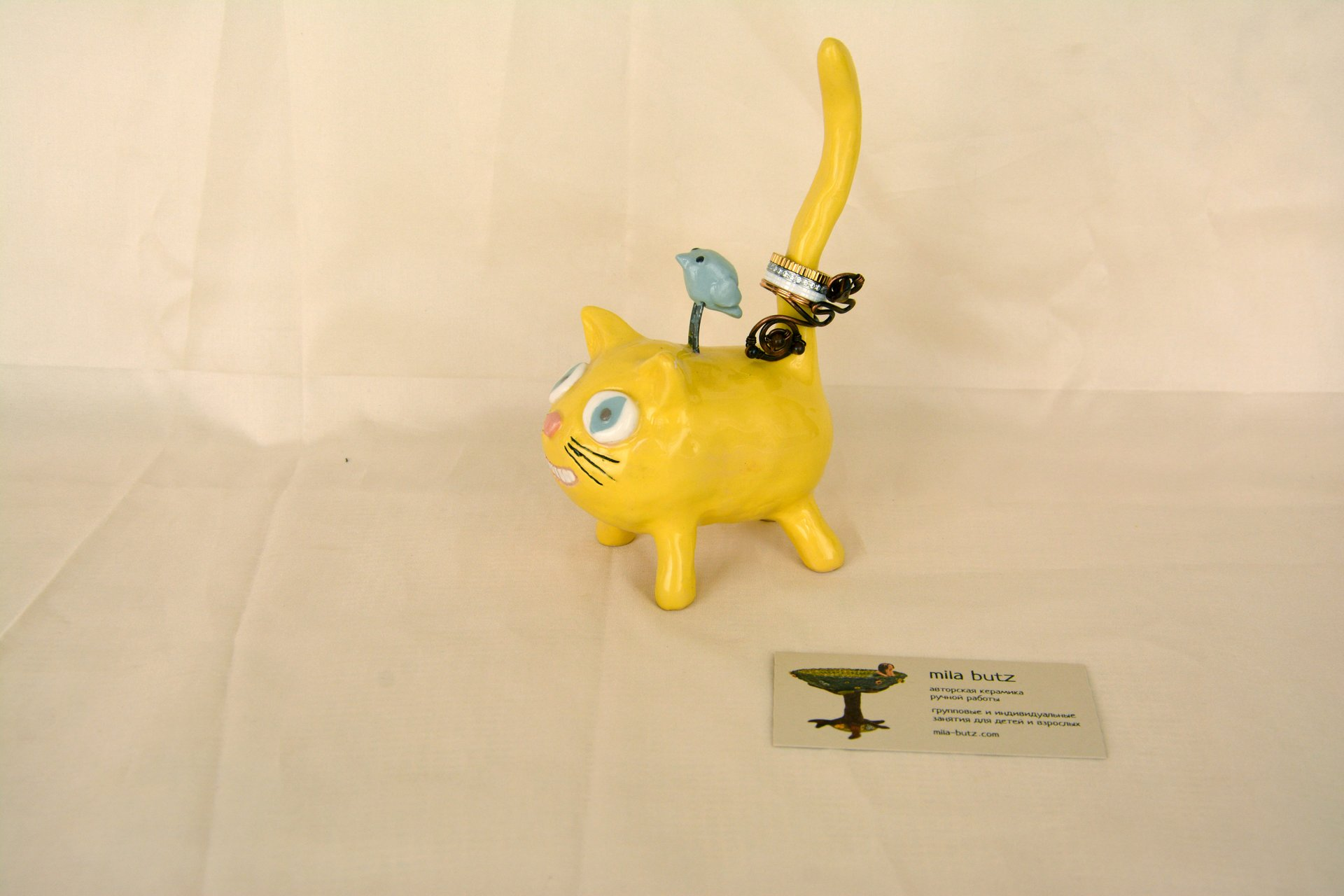 Cat «Cheshire smile» - Ceramic ring's holders, height - 15 cm., photo 2 of 3.