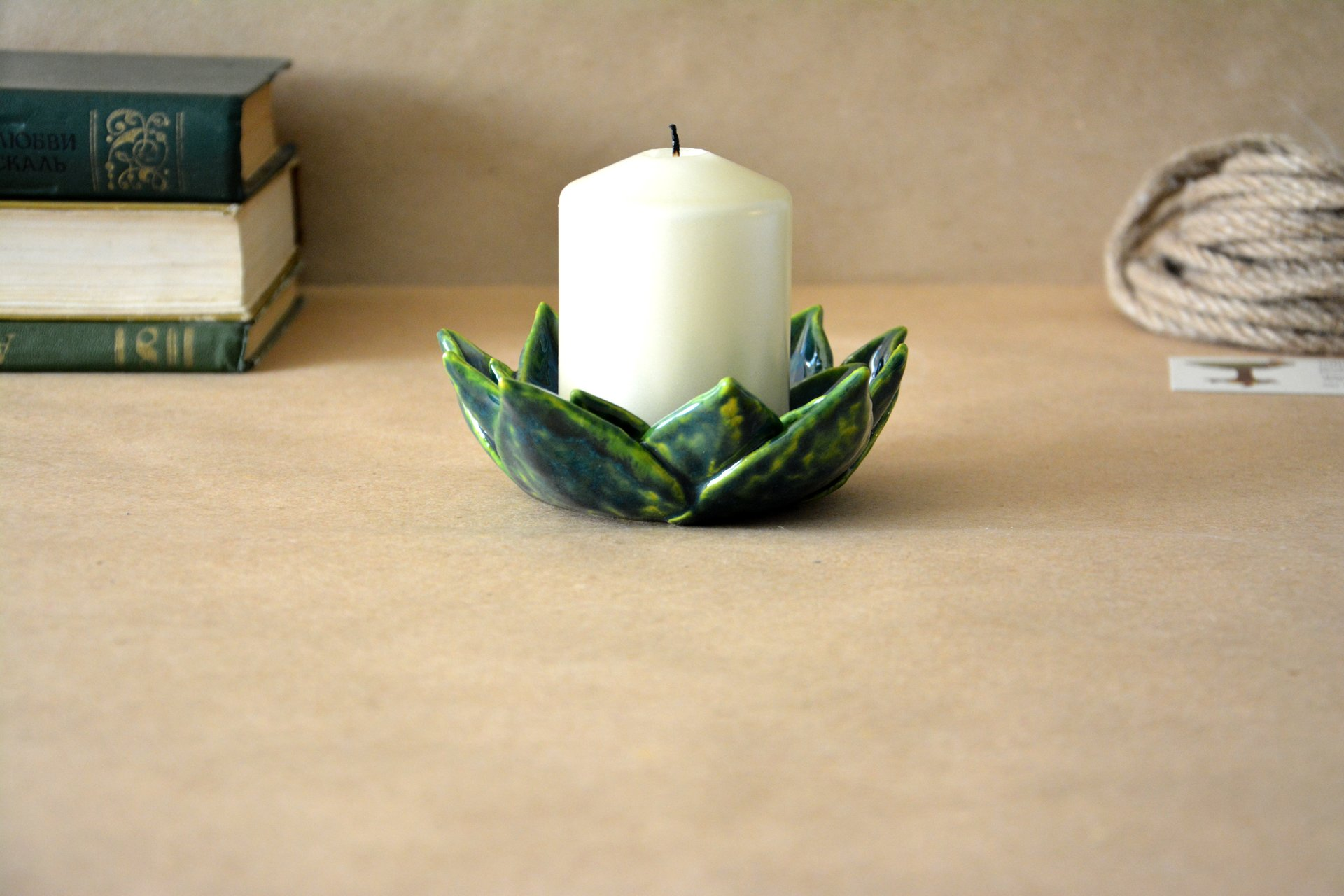 Candle holder Stone rose - Ceramic Candl-holders, diameter - 11 cm, photo 3 of 3.