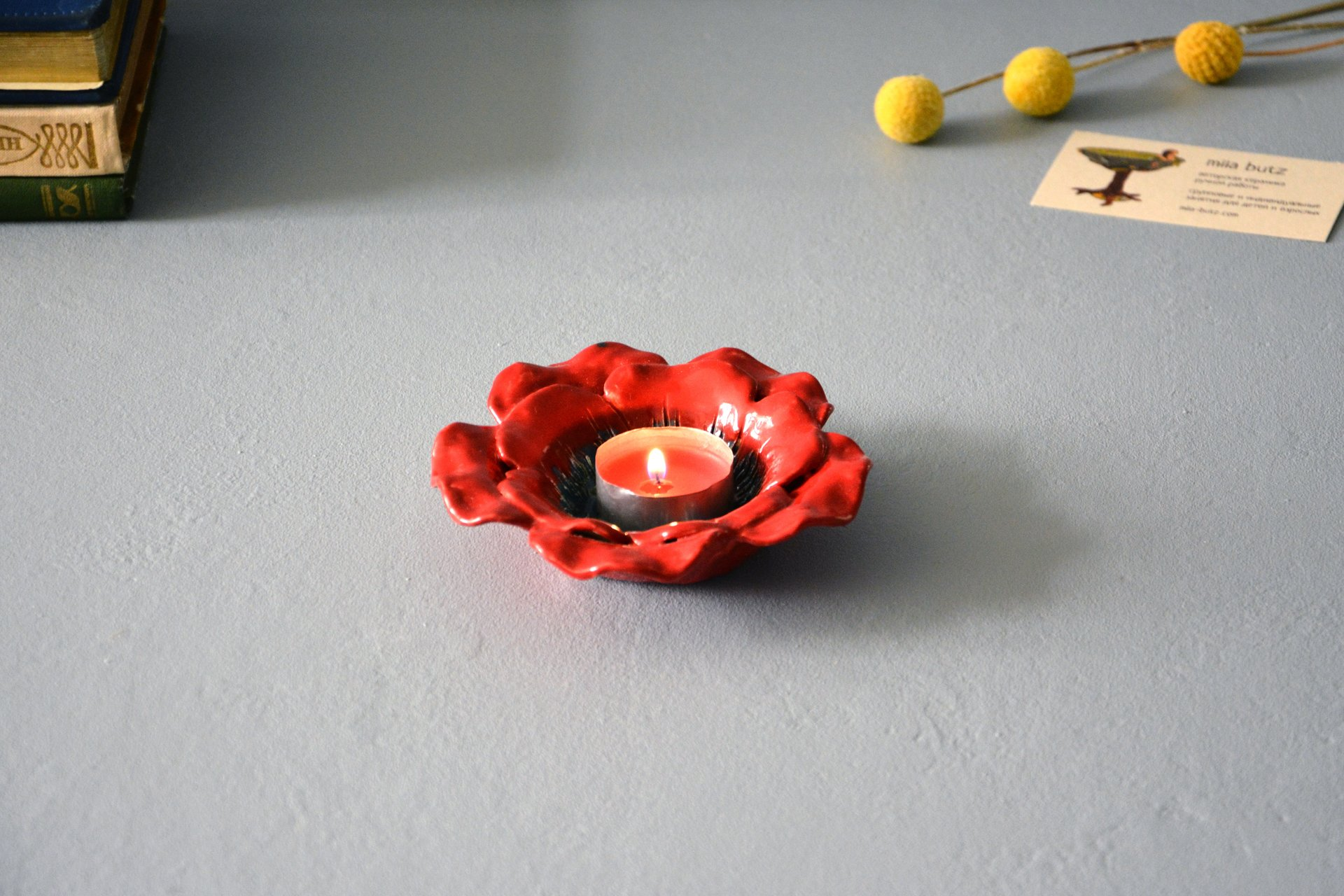 Red candlestick in the shape of a poppy flower, for ordinary candles and candles for tablets, diameter - 12 cm, photo 2 of 5.