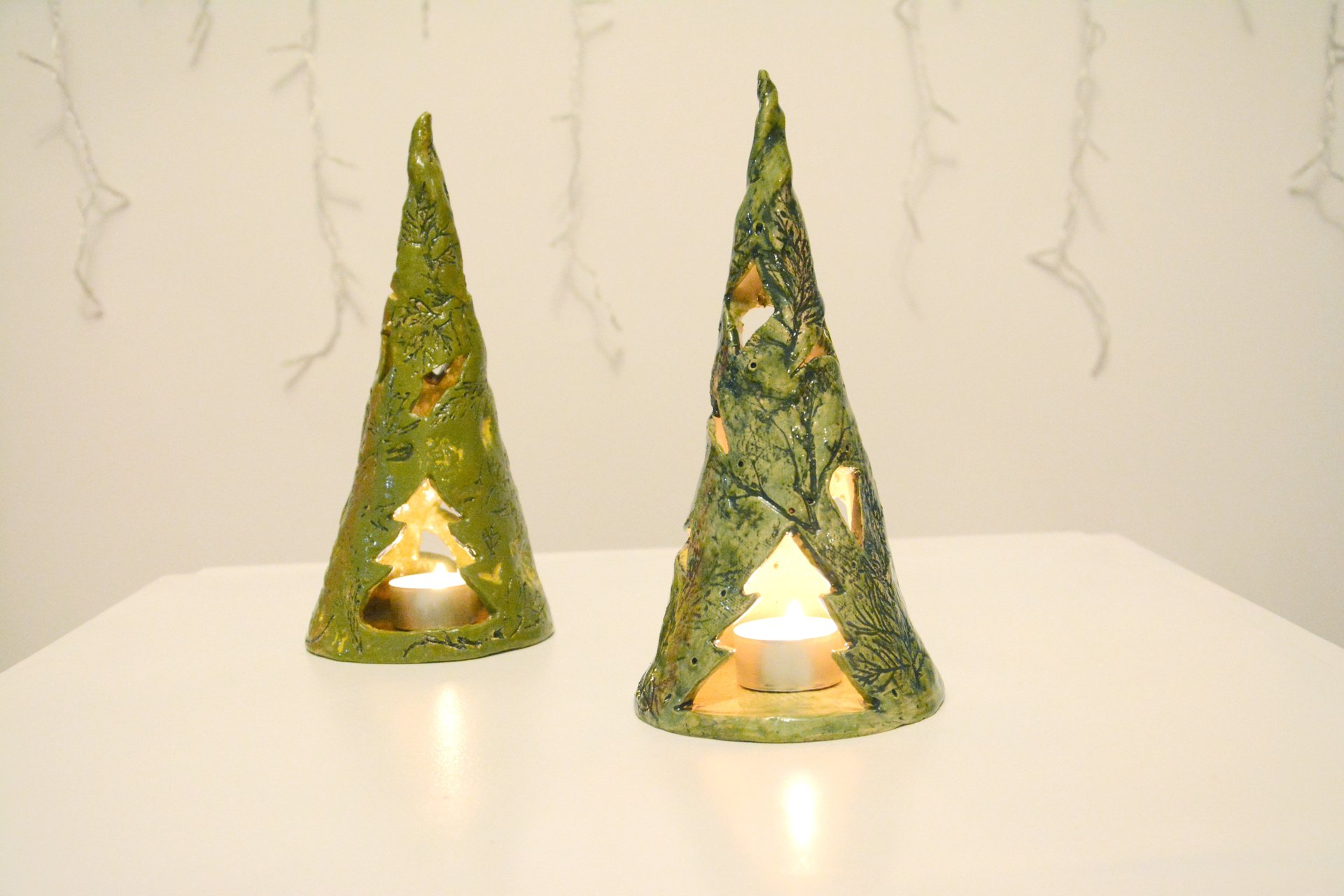 Eco style Christmas tree - Ceramic Candl-holders, height - 24 cm, diameter - 7 cm, photo 2 of 2.