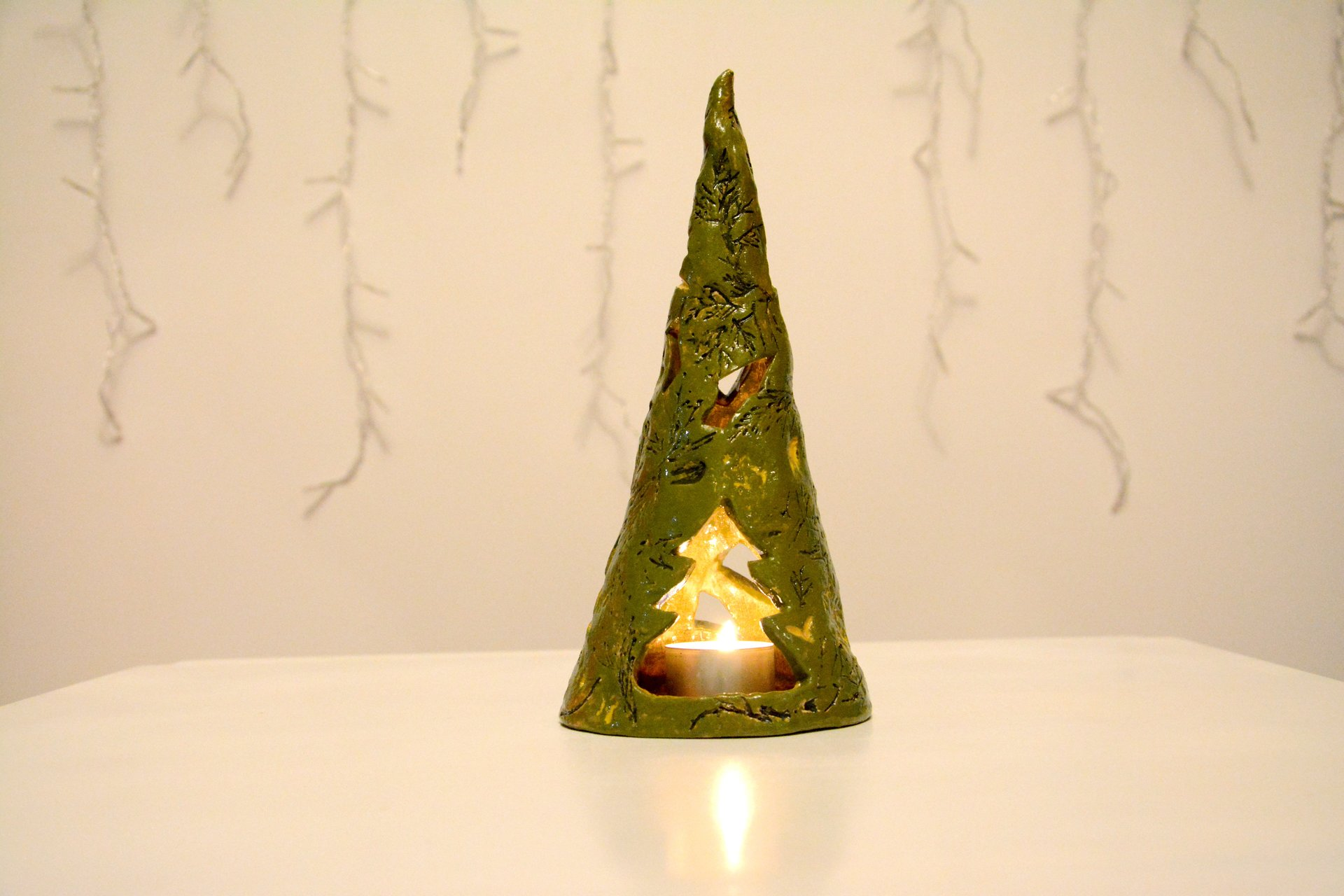 Eco style Christmas tree - Ceramic Candl-holders, height - 24 cm, diameter - 7 cm, photo 1 of 2.