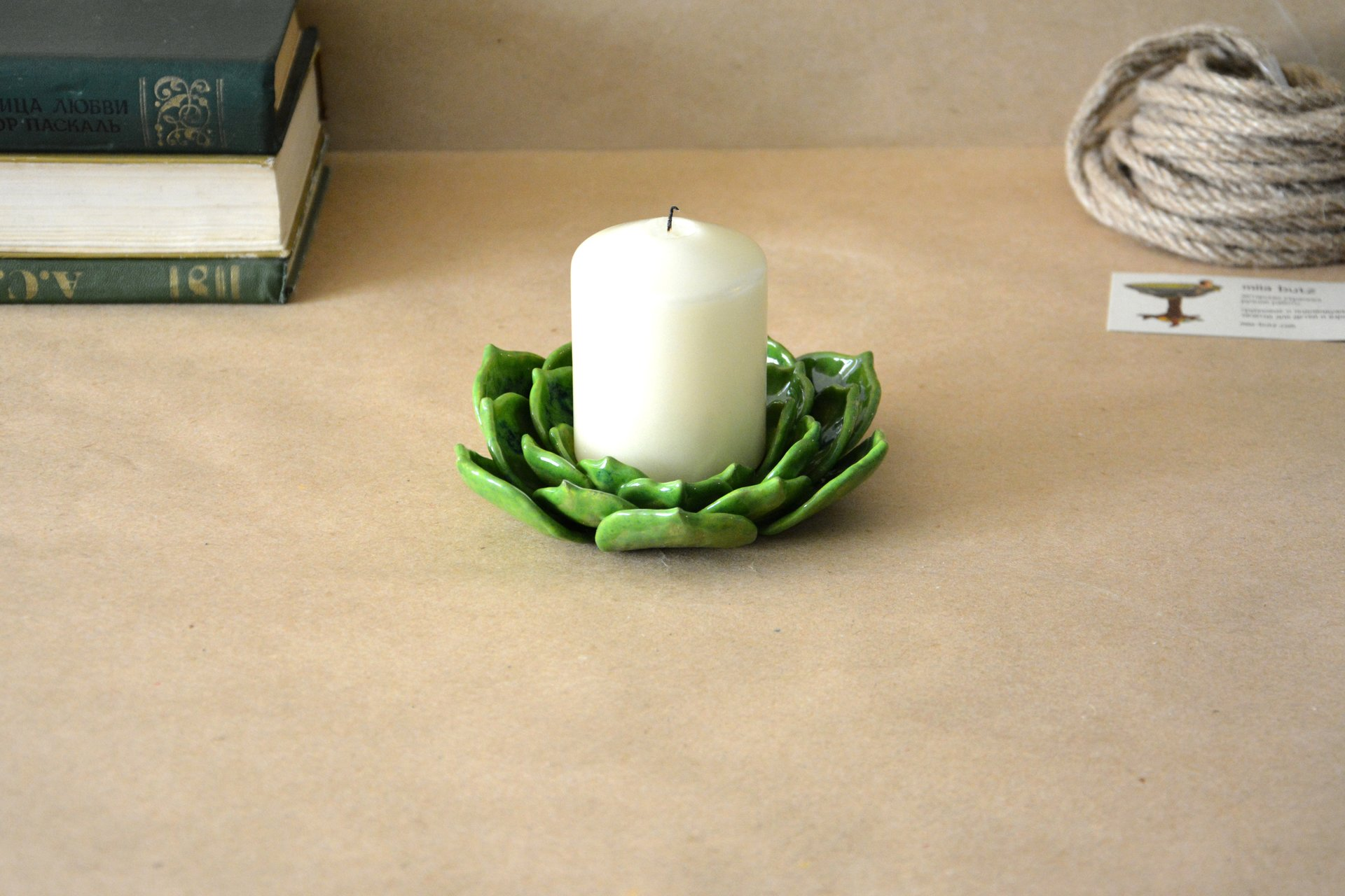 Light green candle holder a Succulent - Ceramic Candl-holders, diameter - 14 cm, photo 4 of 4.