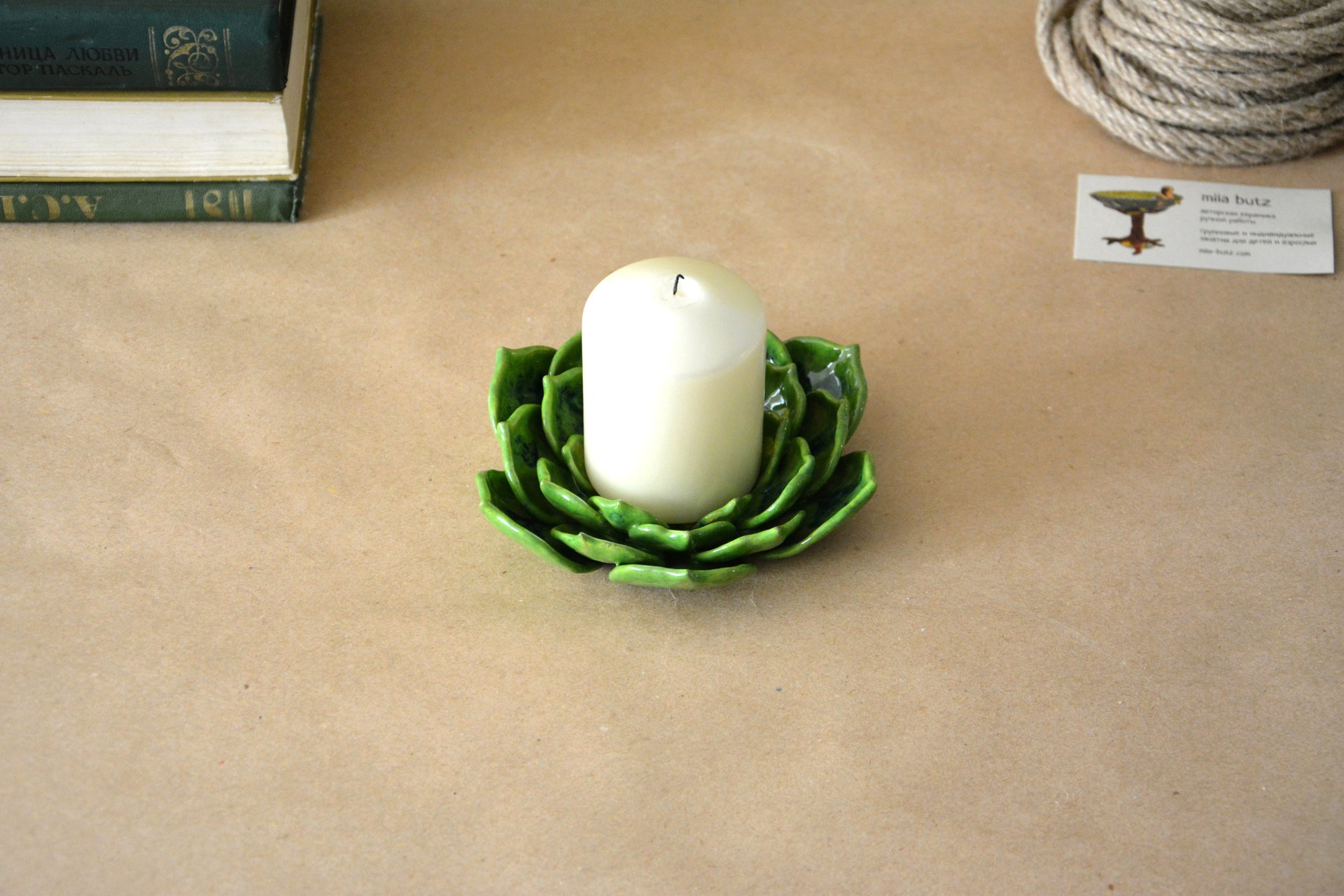 Light green candle holder a Succulent - Ceramic Candl-holders, diameter - 14 cm, photo 2 of 4.