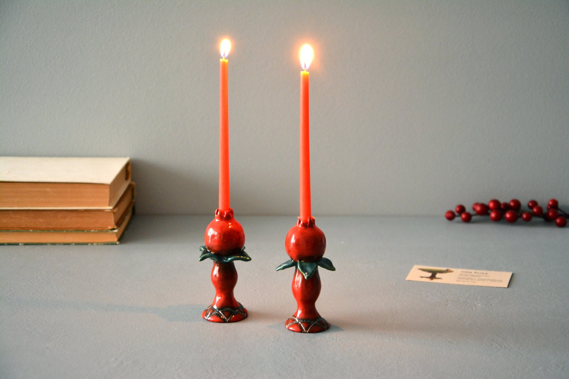 Pair of candlesticks for Shabbat, height - 9 cm, photo 3 of 4.