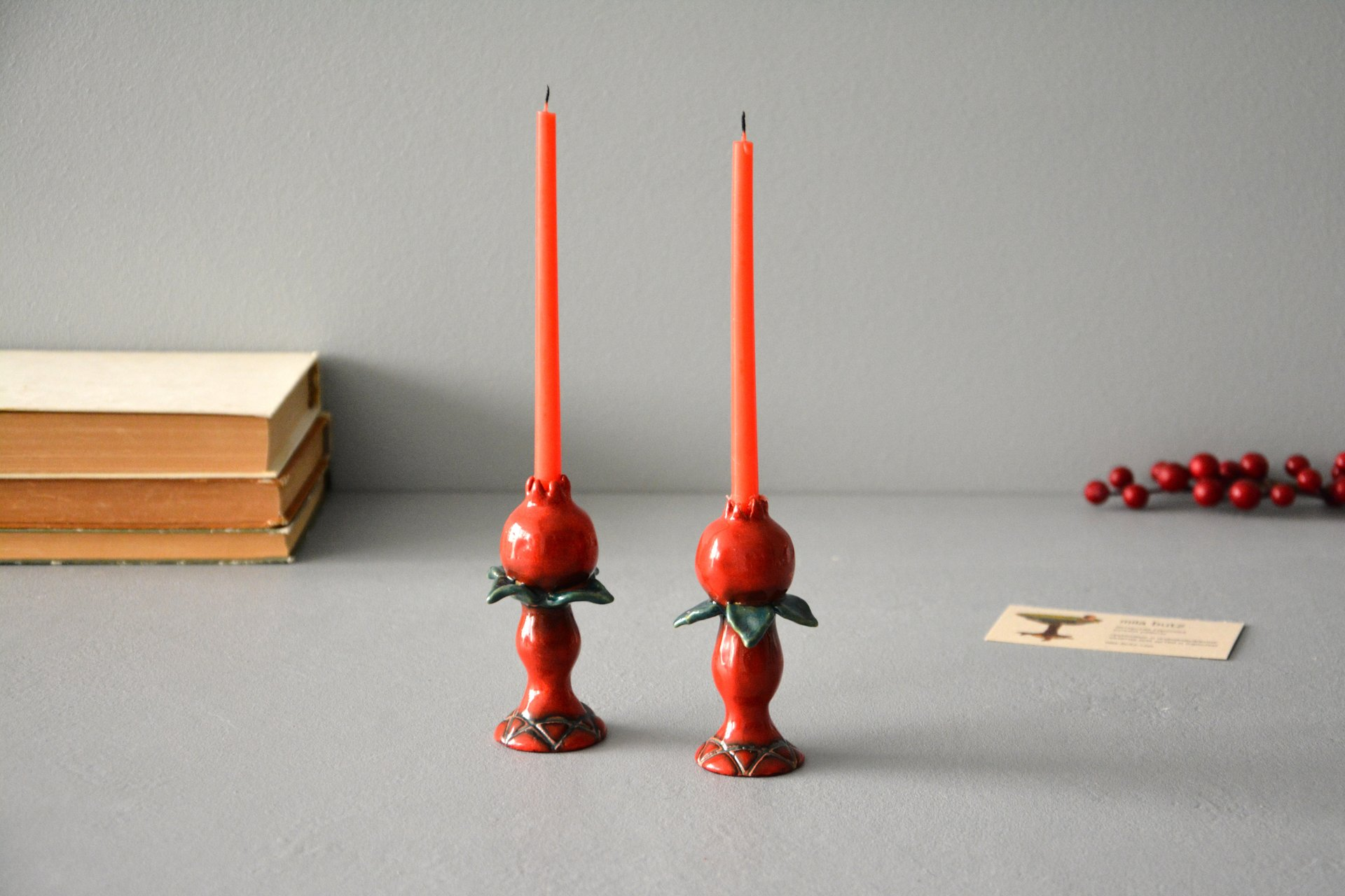 Pair of candlesticks for Shabbat, height - 9 cm, photo 2 of 4.