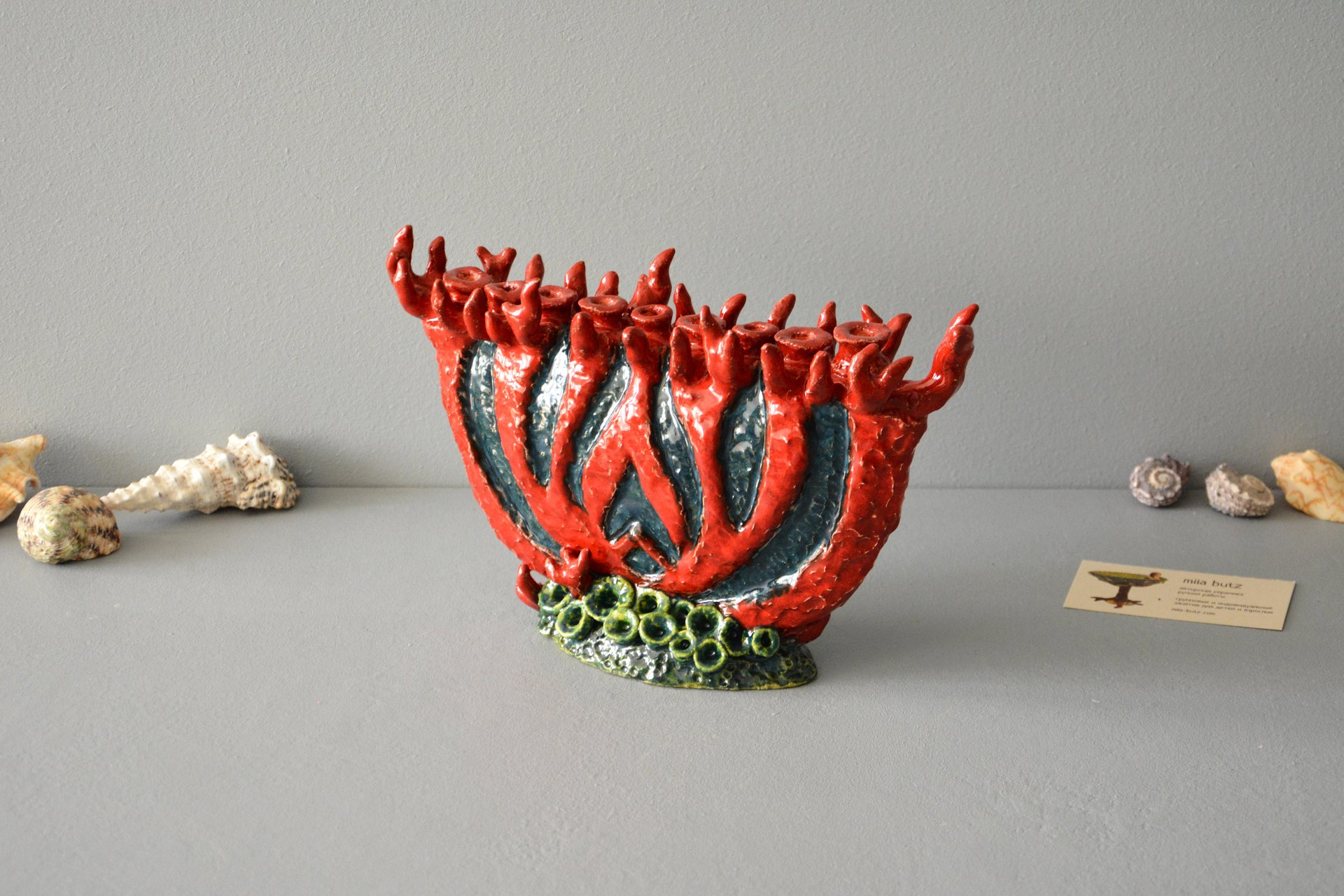 The Jewish Candlestick Chanukiah Coral, 27 cm * 16.5 cm, photo 4 of 6.