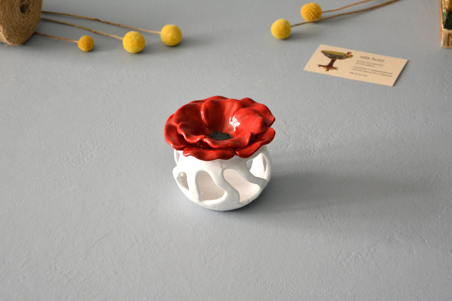 Ceramic Aroma Lamp Poppy, White with Red, color - white with red, height - 8.5 cm, diameter - 9 cm, photo 5 of 5.