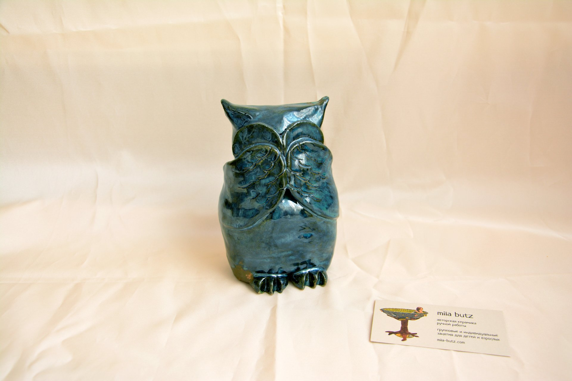 Owl «I see nothing» - Animals and birds, height - 14 cm, photo 2 of 3.