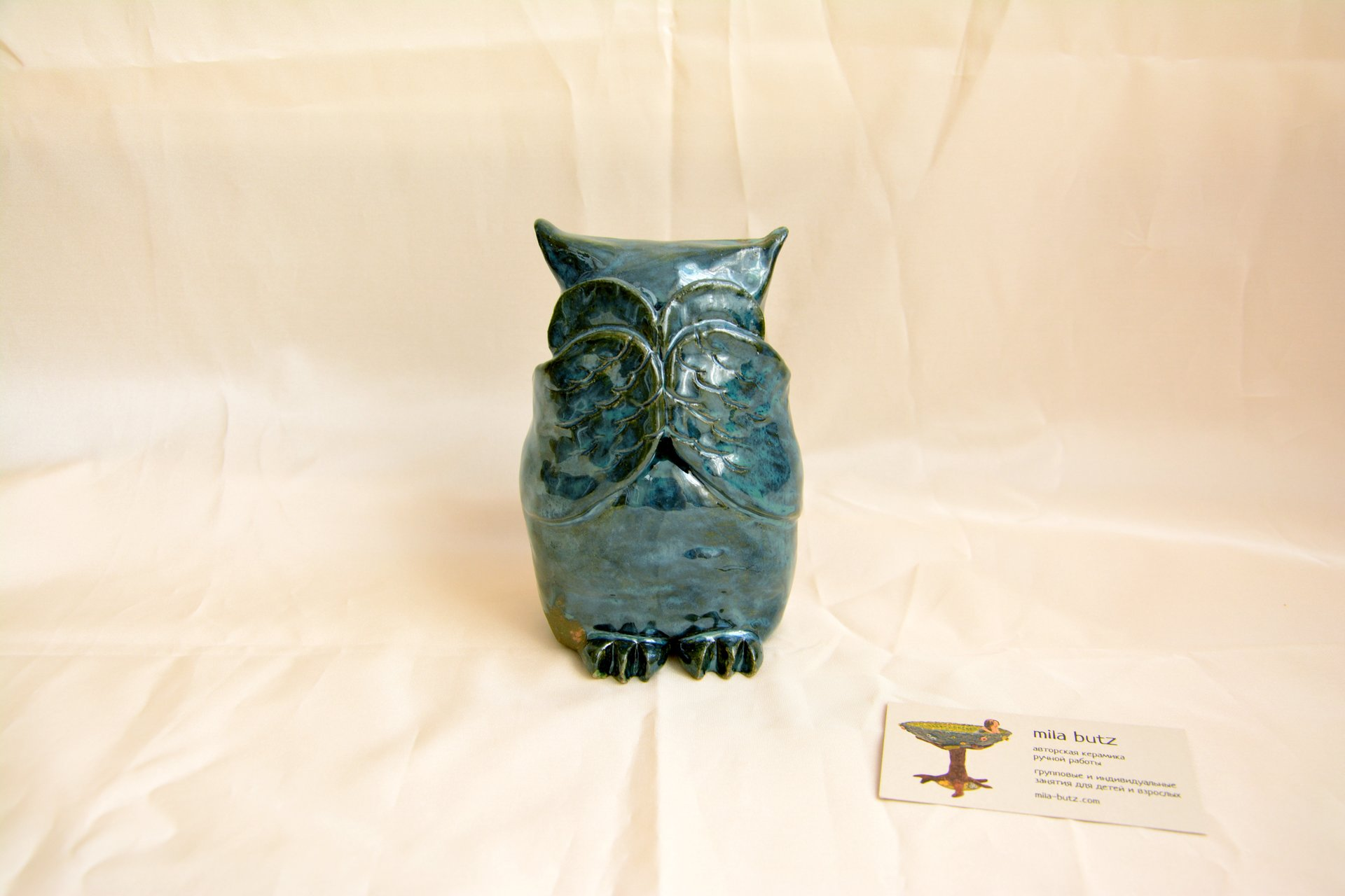 Owl «I see nothing» - Animals and birds, height - 14 cm, photo 1 of 3.