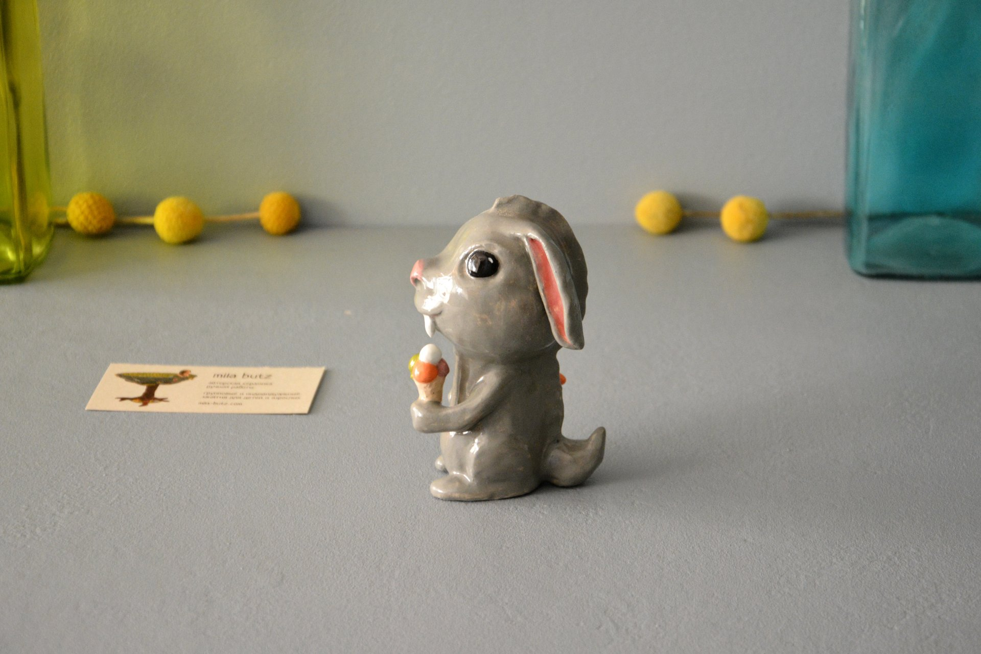 Clay figurine Saber-toothed Rabbit, height - 12 cm, photo 4 of 5.