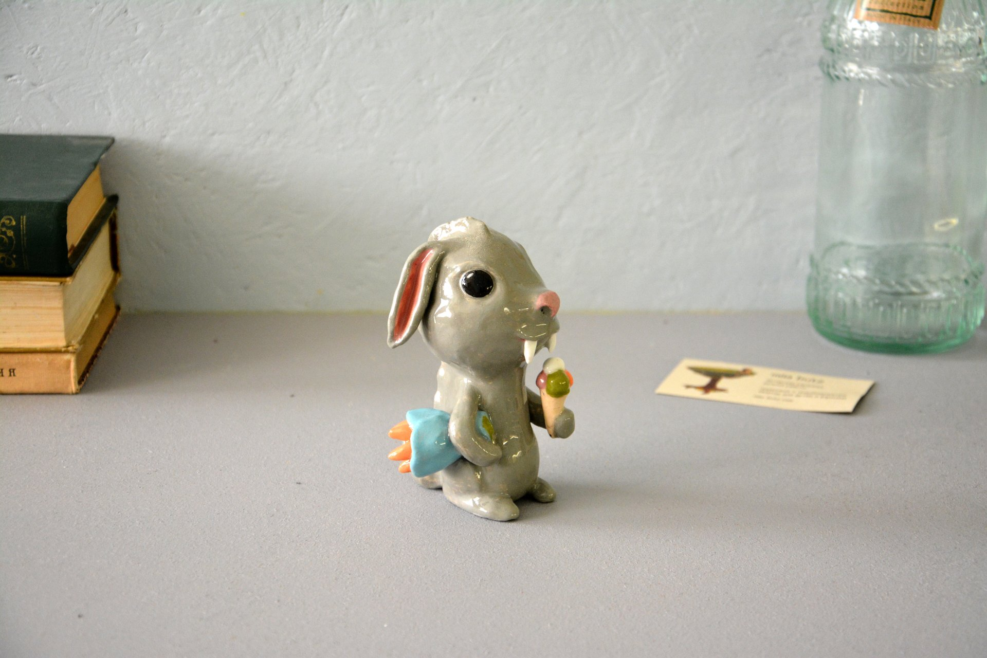 Clay figurine Saber-toothed Rabbit, height - 12 cm, photo 3 of 5.