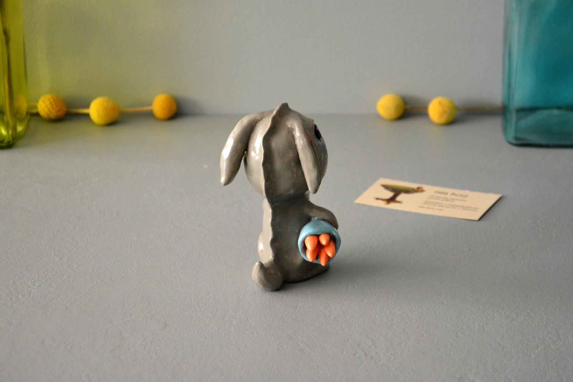 Clay figurine Saber-toothed Rabbit, height - 12 cm, photo 5 of 5.