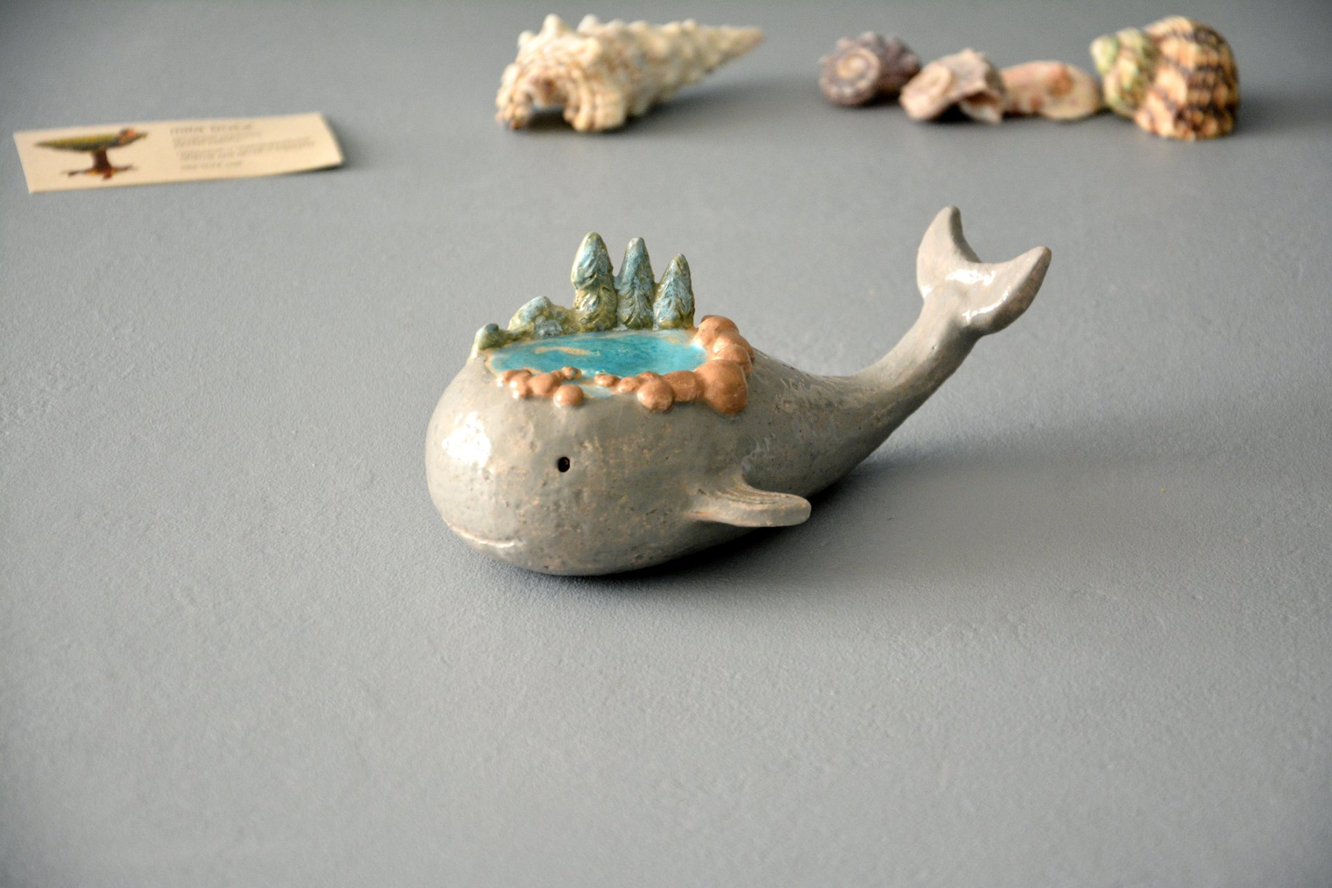 Little whale - Ceramic fishes, height - 5 cm, photo 2 of 5.