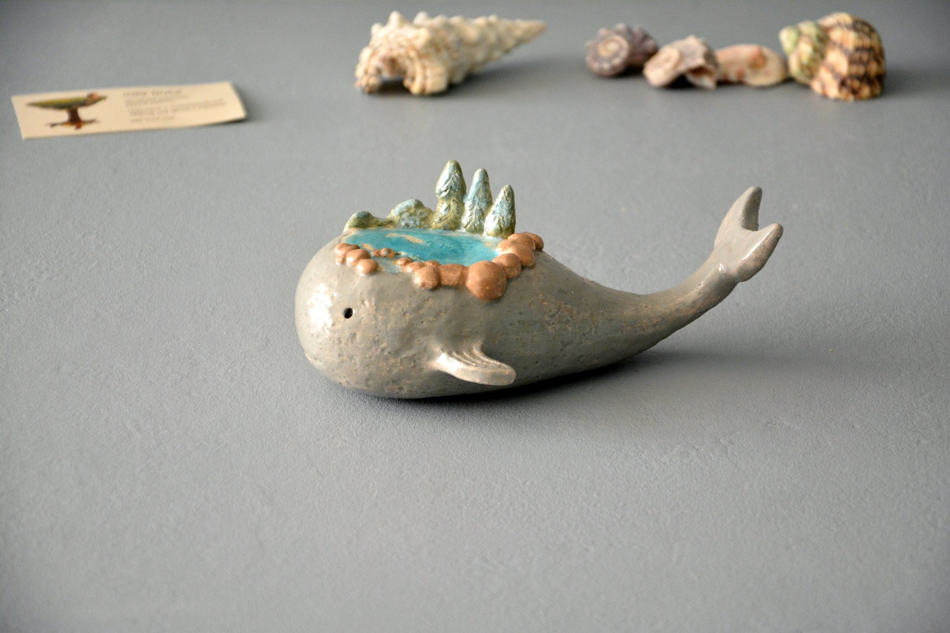 Little whale - Ceramic fishes, height - 5 cm, photo 5 of 5.