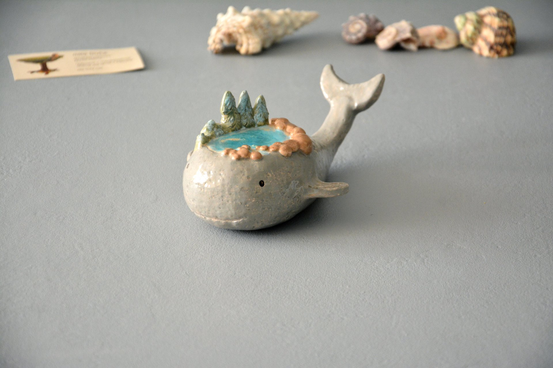 Little whale - Ceramic fishes, height - 5 cm, photo 1 of 5.