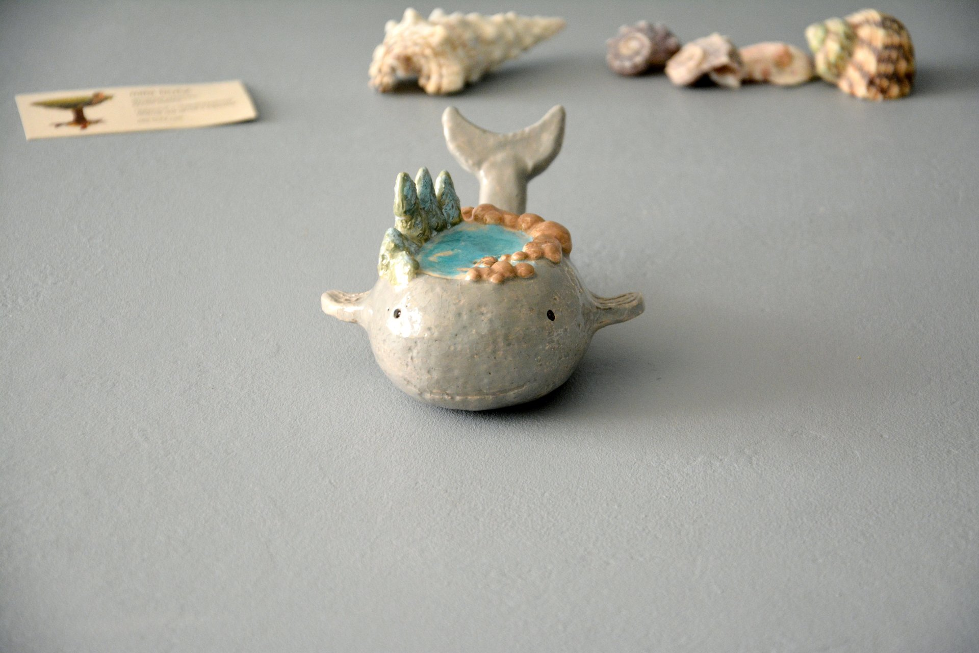 Little whale - Ceramic fishes, height - 5 cm, photo 3 of 5.