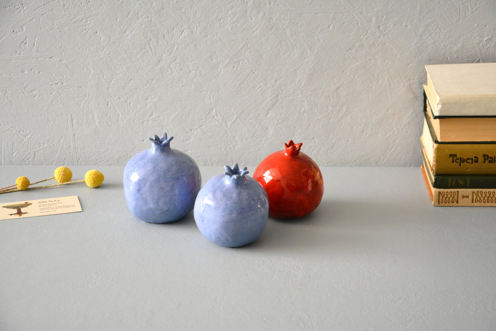 Two blue ceramic pomegranates, height - 10 cm, photo 4 of 5.