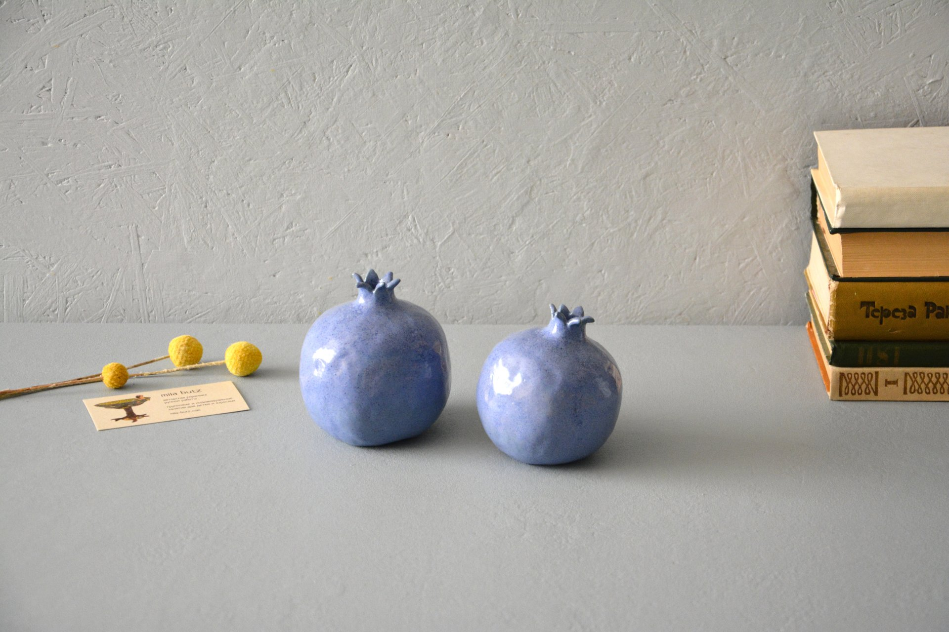 Two blue ceramic pomegranates, height - 10 cm, photo 1 of 5.