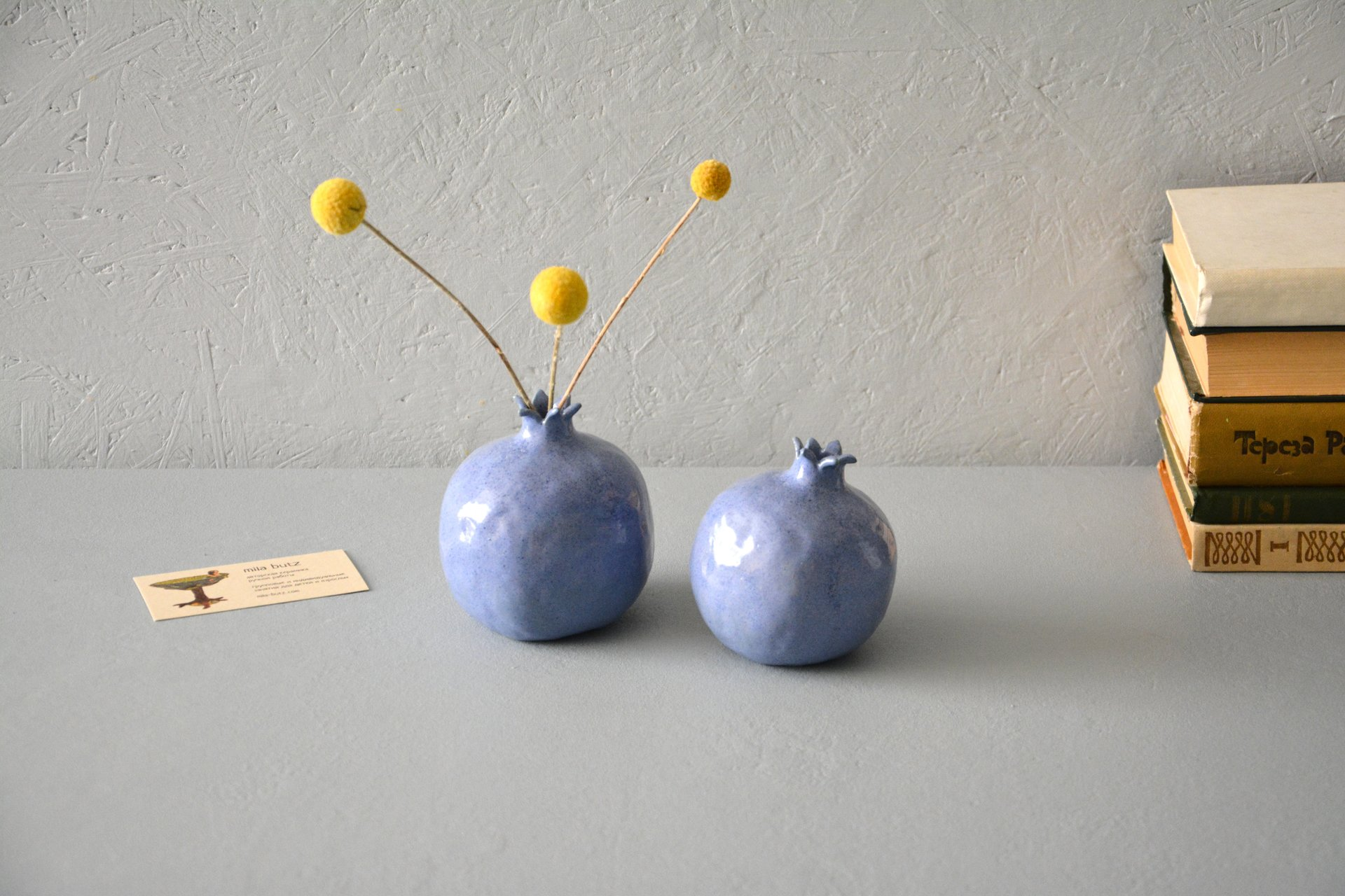 Two blue ceramic pomegranates, height - 10 cm, photo 3 of 5.
