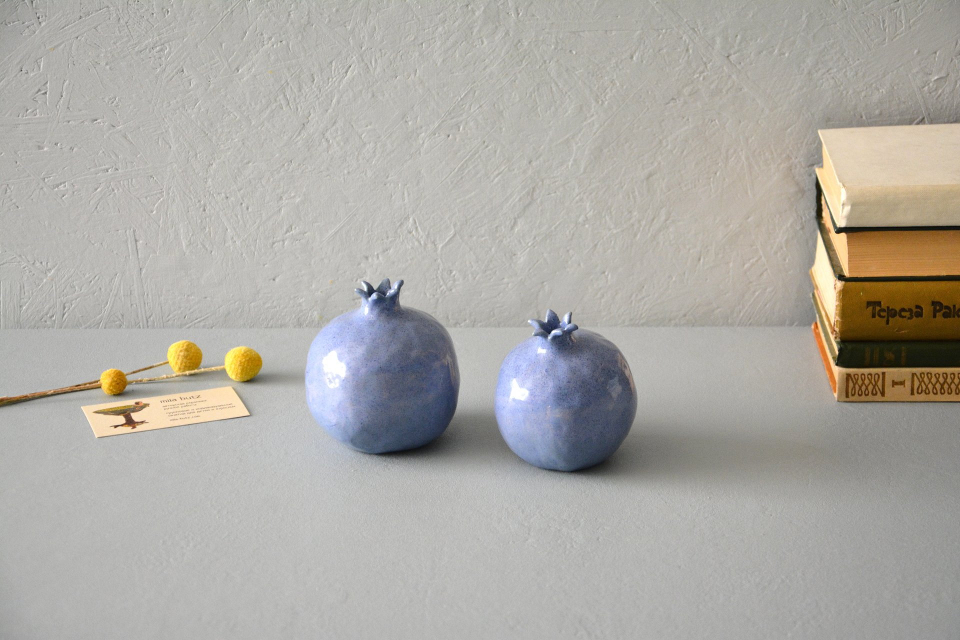 Two blue ceramic pomegranates, height - 10 cm, photo 2 of 5.