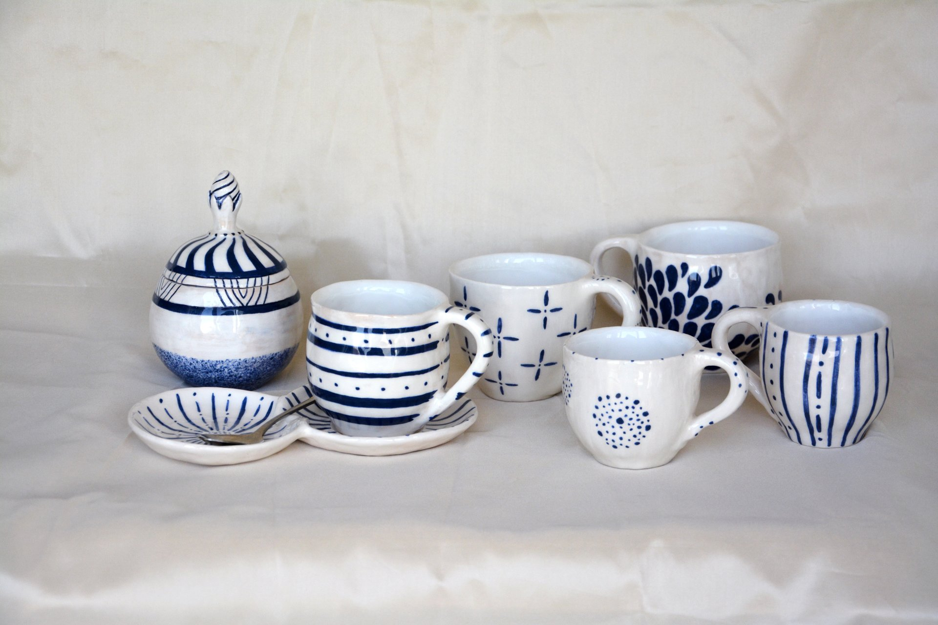 A set of cups plus sugar bowl Modern gzhel - Cups, glasses, mugs, 150 ml - 300 ml, photo 1 of 2.