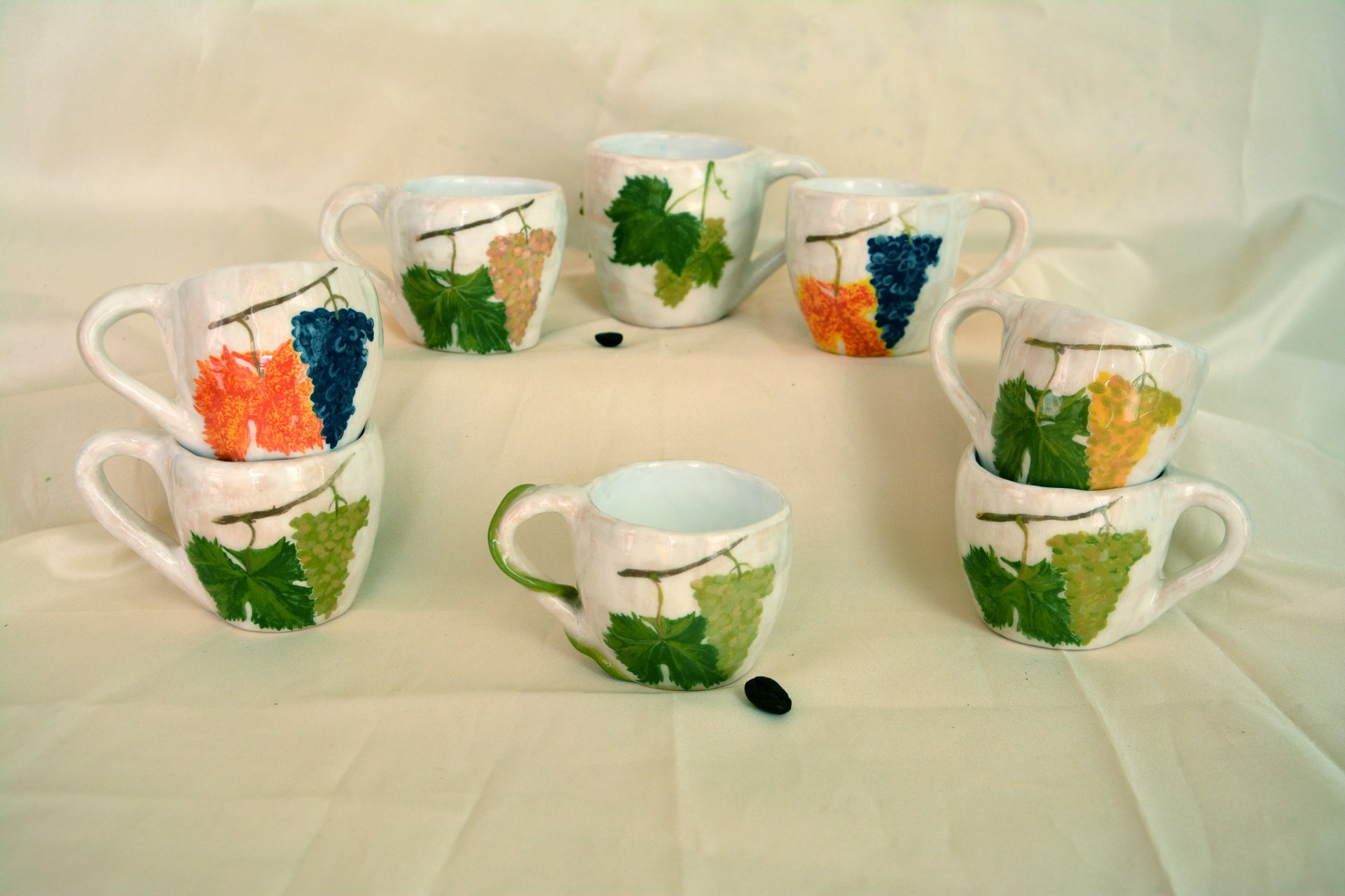 A set of white coffee cups Bunch of grapes - Cups, glasses, mugs, height - 6 cm, volume - 100 ml, photo 3 of 3.