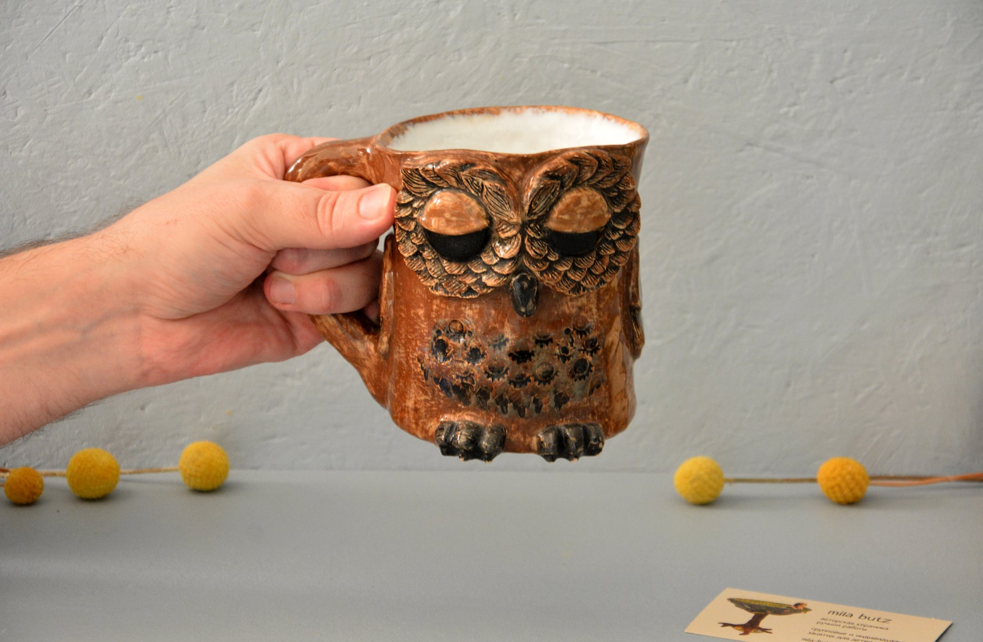 Owl is a large cup, аmount - 0.5 l,  height - 14 cm, diameter - 10 cm, photo 5 of 6.