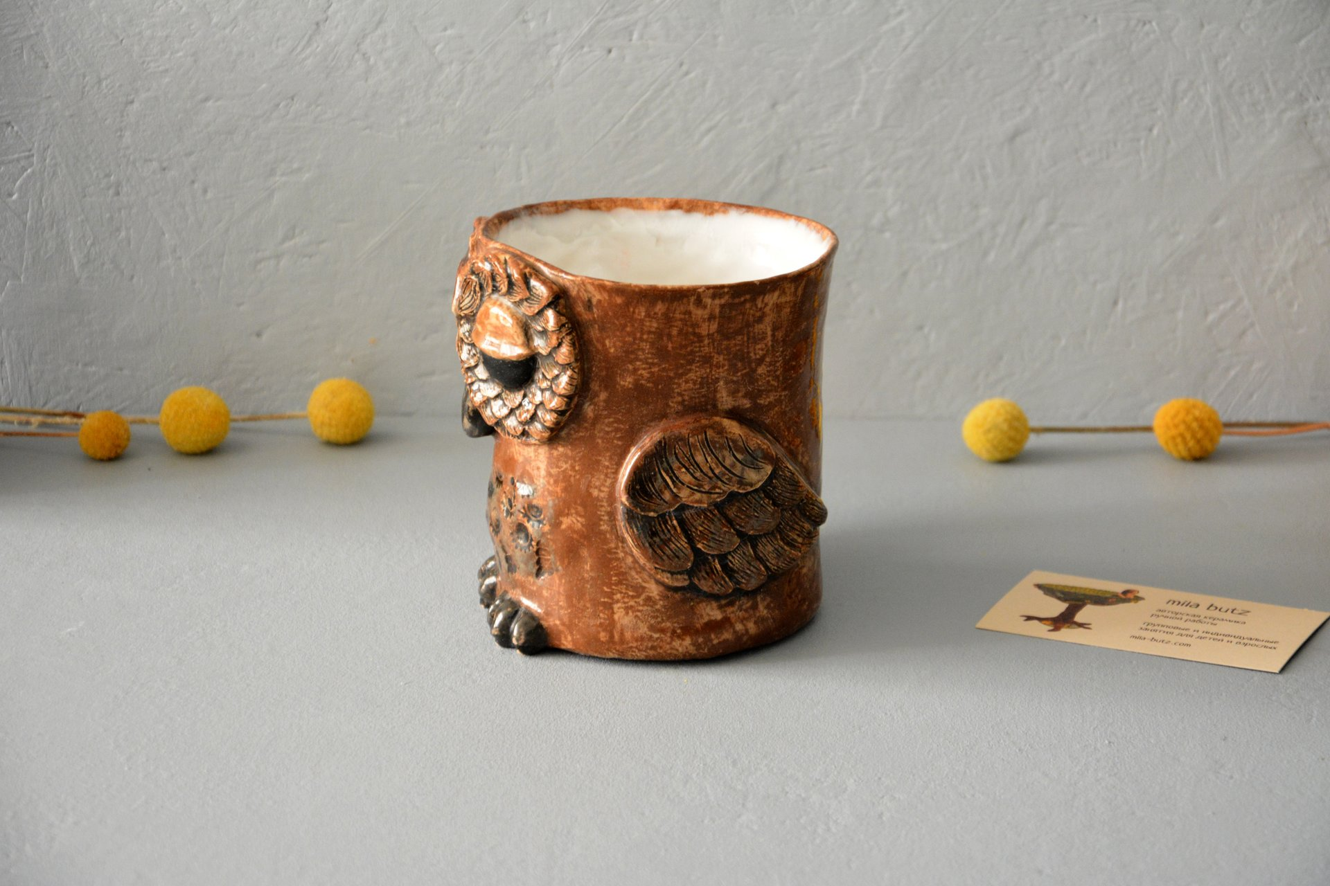 Owl is a large cup, аmount - 0.5 l,  height - 14 cm, diameter - 10 cm, photo 3 of 6.