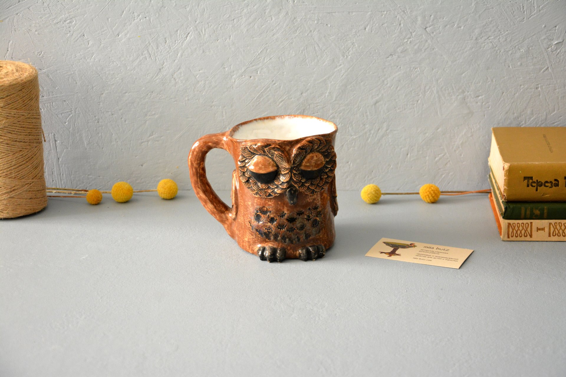 Owl is a large cup, аmount - 0.5 l,  height - 14 cm, diameter - 10 cm, photo 6 of 6.