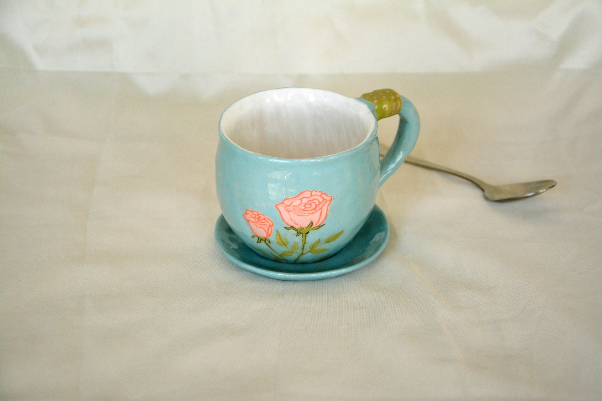 Blue cup with a picture of Sleeping bunny - Cups, glasses, mugs, height - 7 cm, volume - 250 ml, photo 2 of 3.