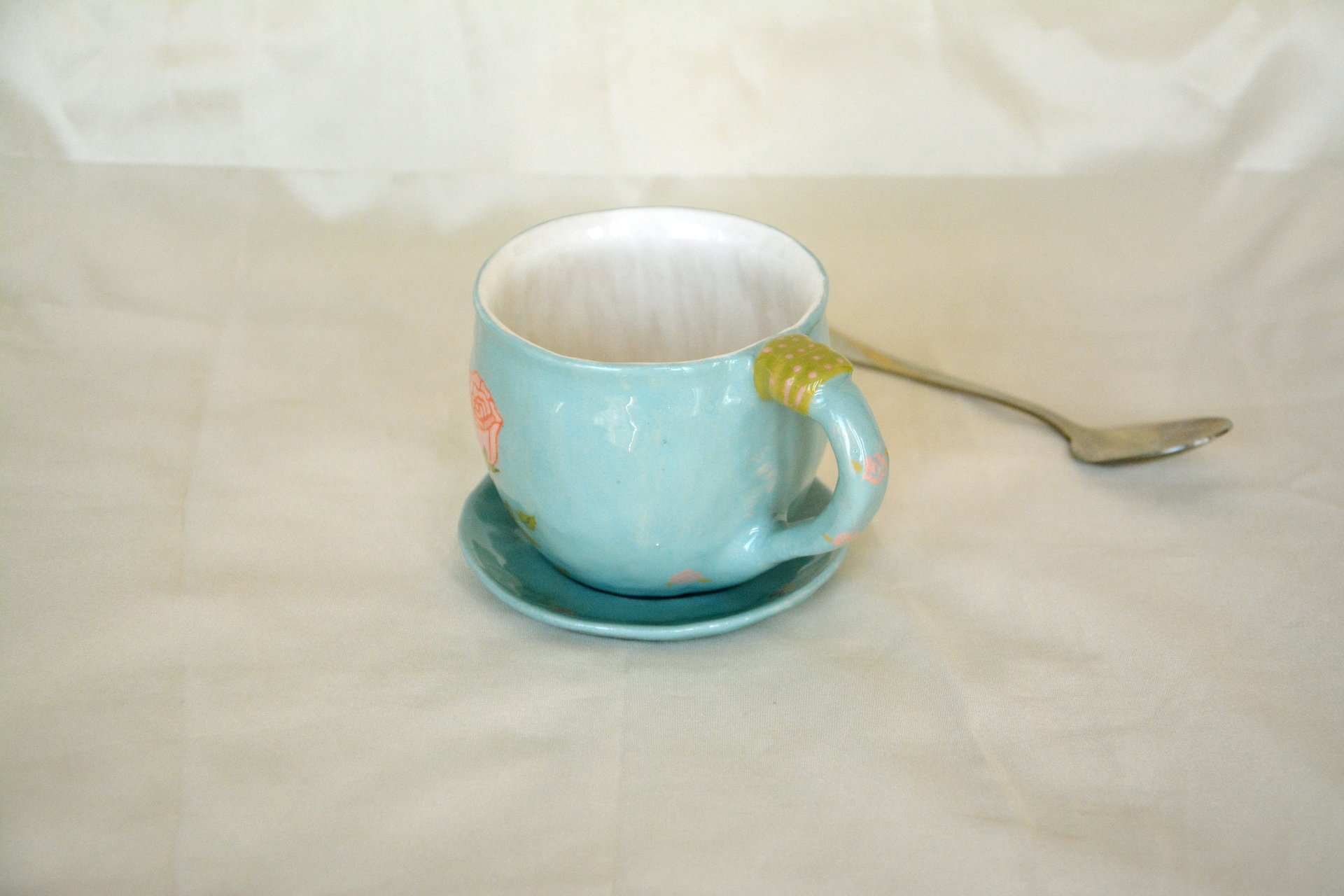 Blue cup with a picture of Sleeping bunny - Cups, glasses, mugs, height - 7 cm, volume - 250 ml, photo 3 of 3.