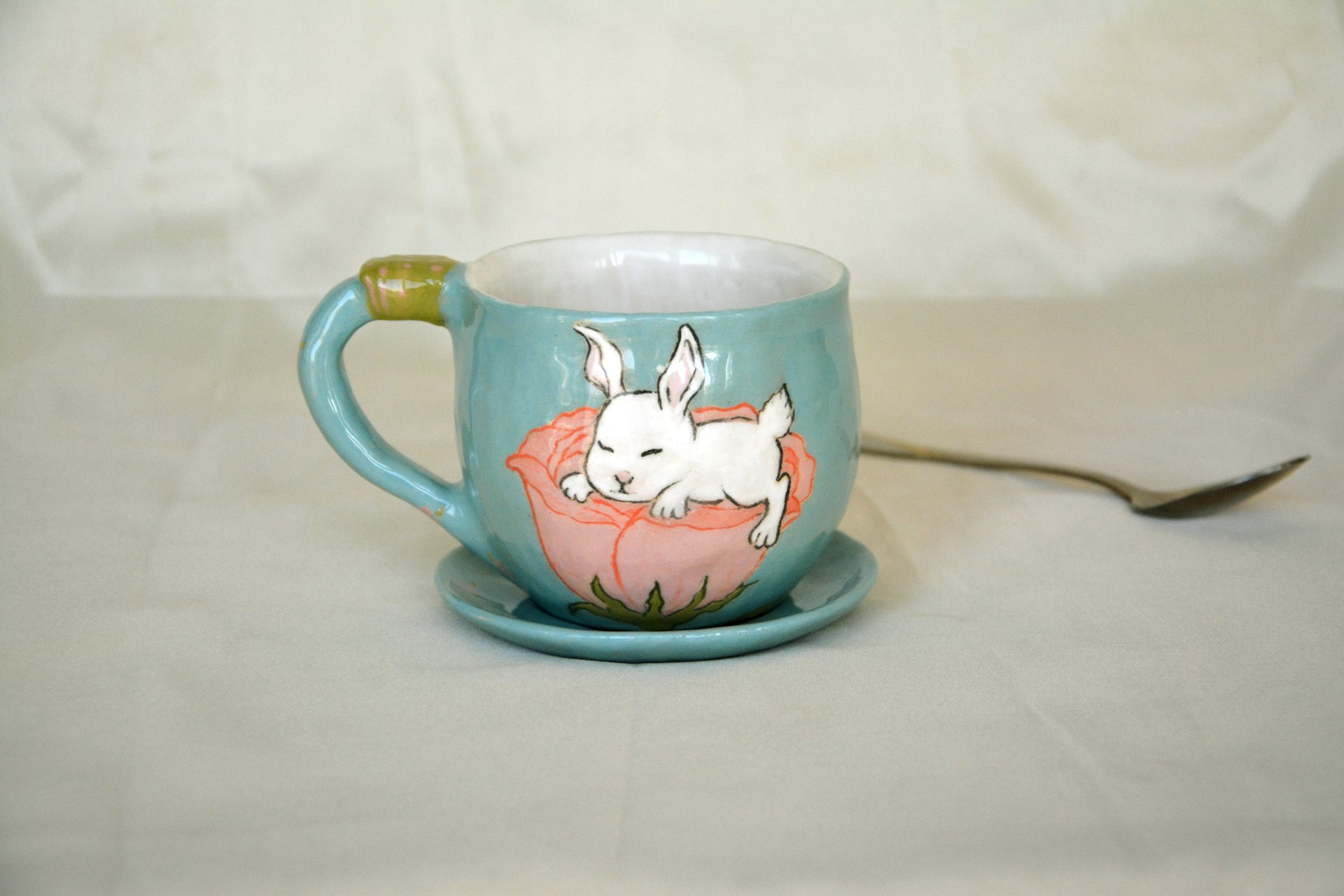 Blue cup with a picture of Sleeping bunny - Cups, glasses, mugs, height - 7 cm, volume - 250 ml, photo 1 of 3.