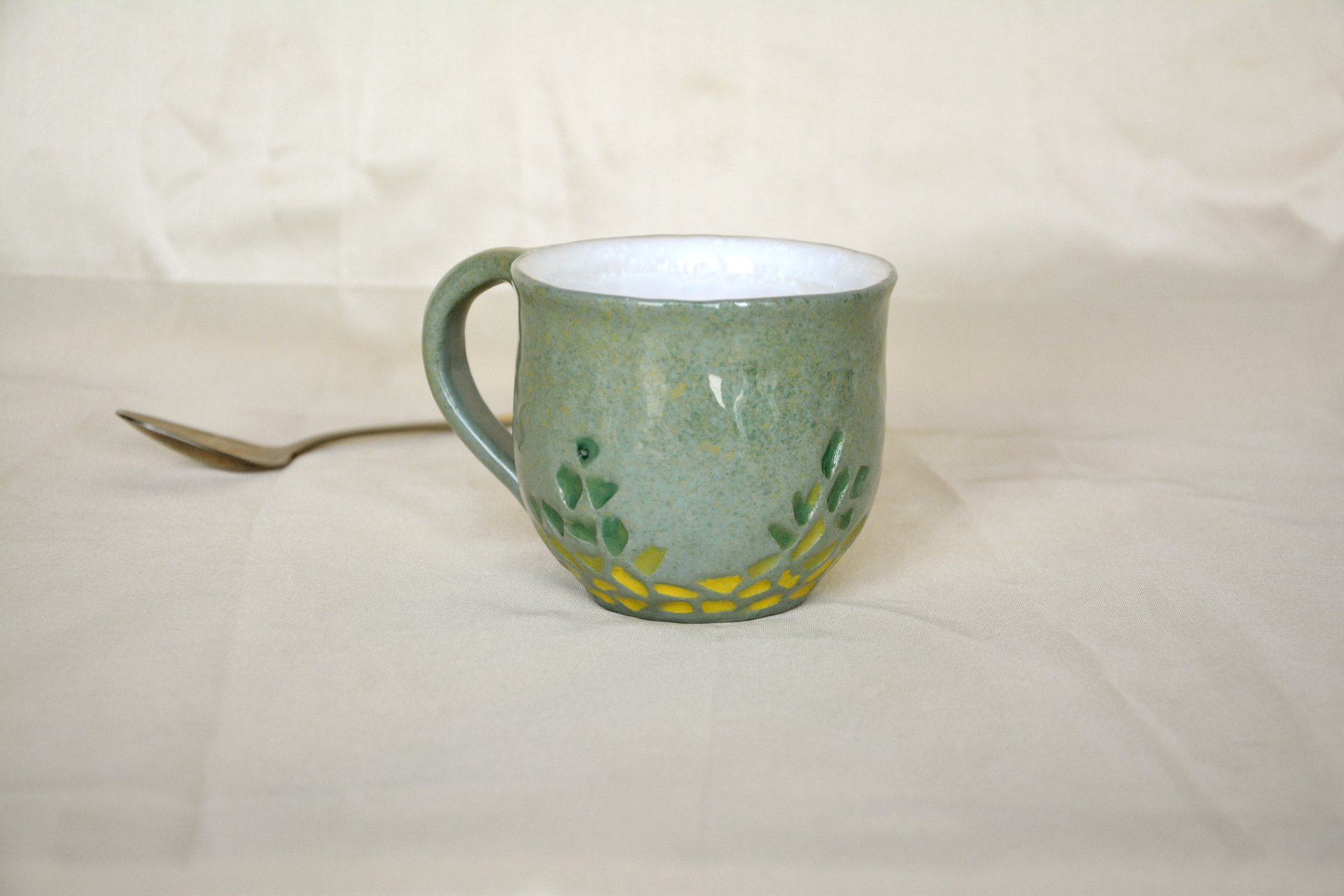 Gray cup for tea or coffee, height - 7 cm, volume - 220 ml, photo 8 of 8.