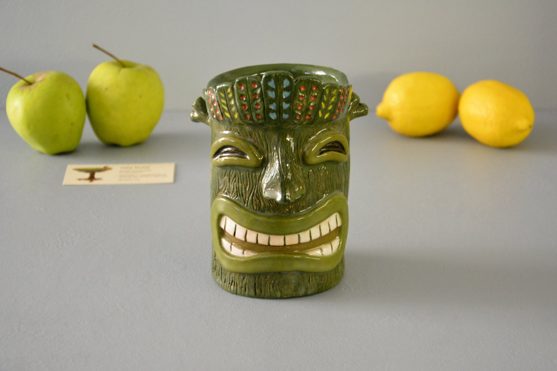 Tiki Glass, big green, height - 15 cm, volume - 0.7 l, photo 1 of 6.
