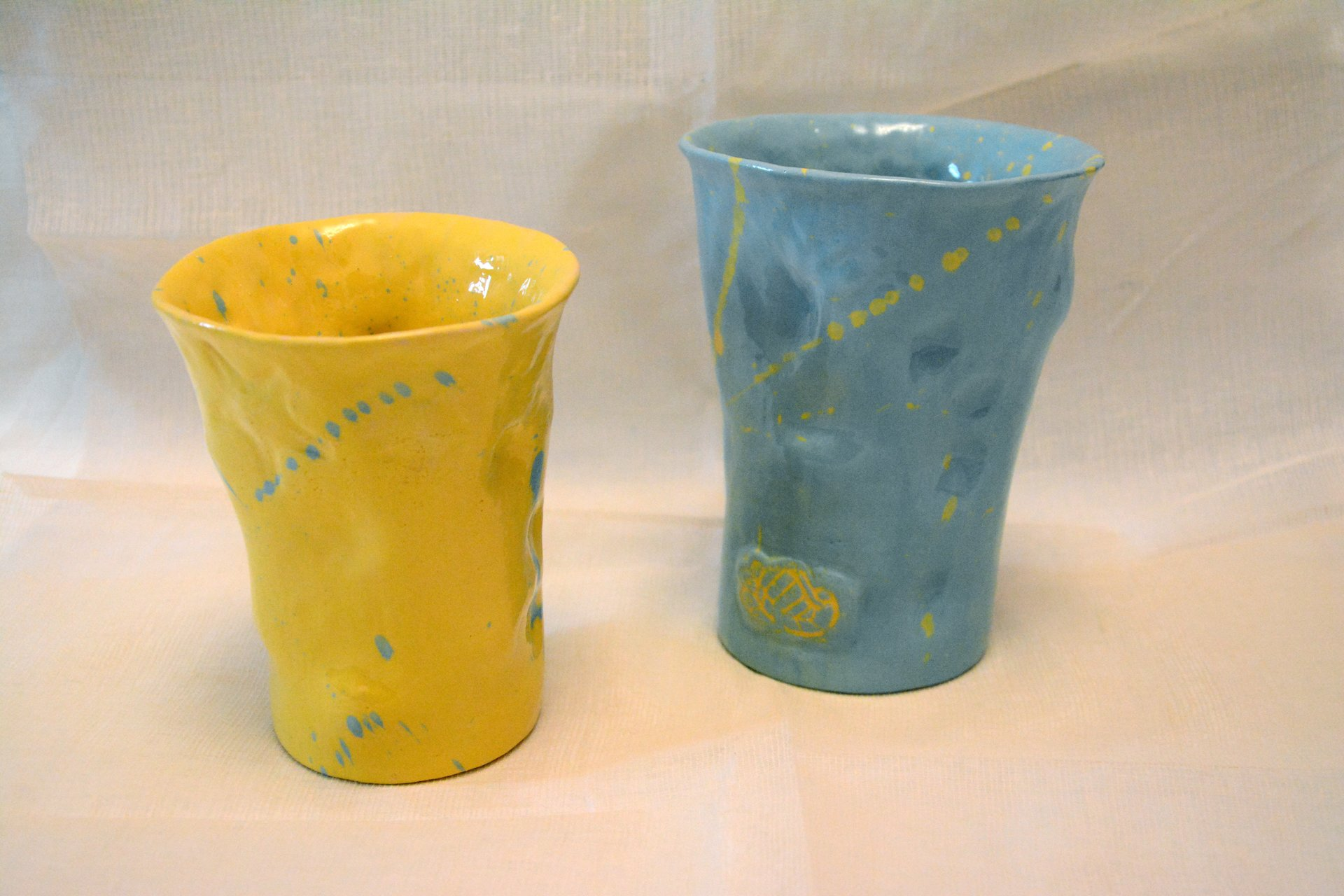 Pair of glasses Yellow and Blue - Cups, glasses, mugs, height - 12 cm, diameter at the top edge - 10 cm, diameter on the bottom - 6.5 cm, photo 1 of 1.