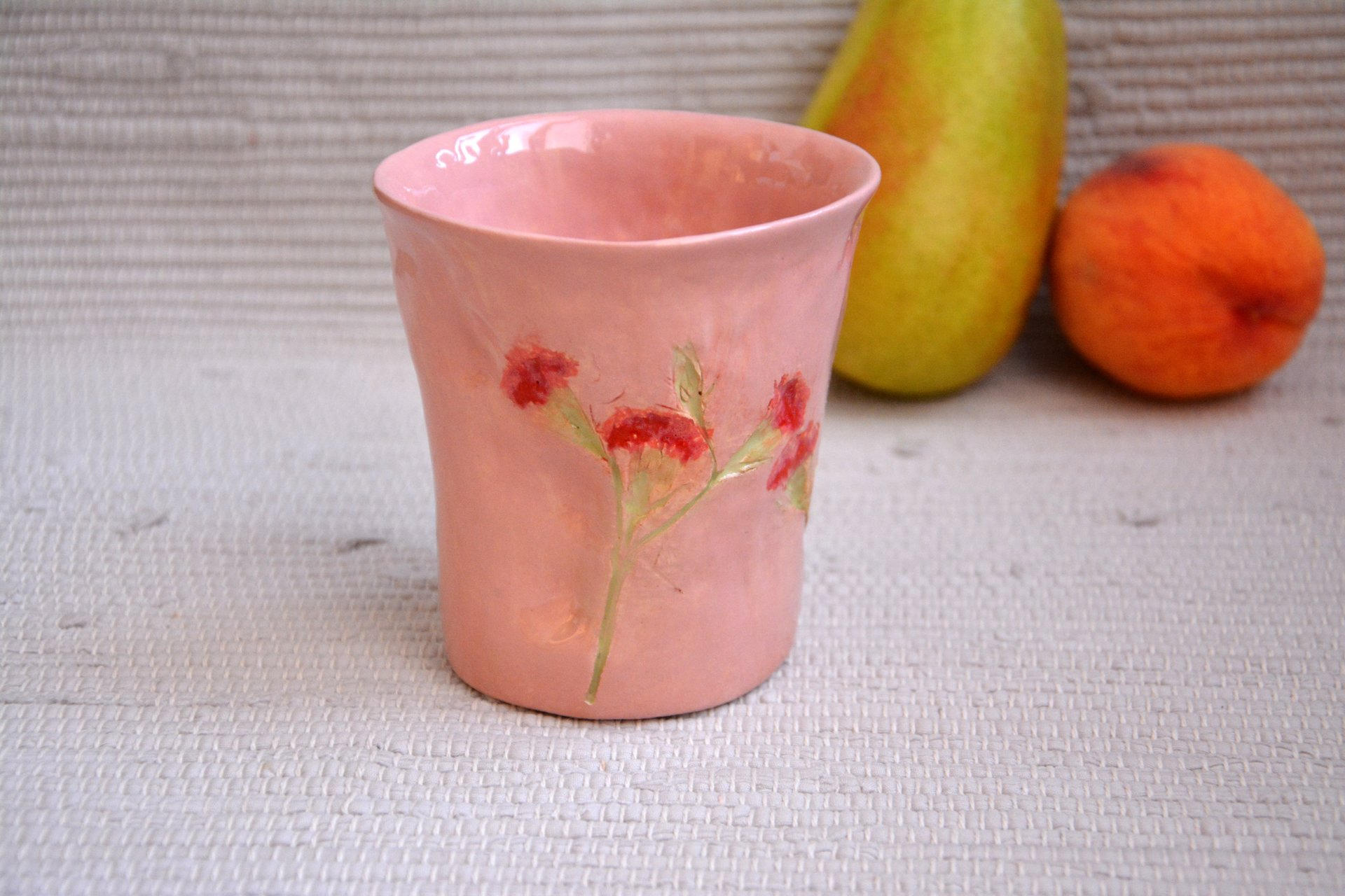 Pink glass The Carnation - Cups, glasses, mugs, height - 11 cm, diameter at the top - 10 cm, diameter on the bottom - 7 cm., photo 2 of 3.