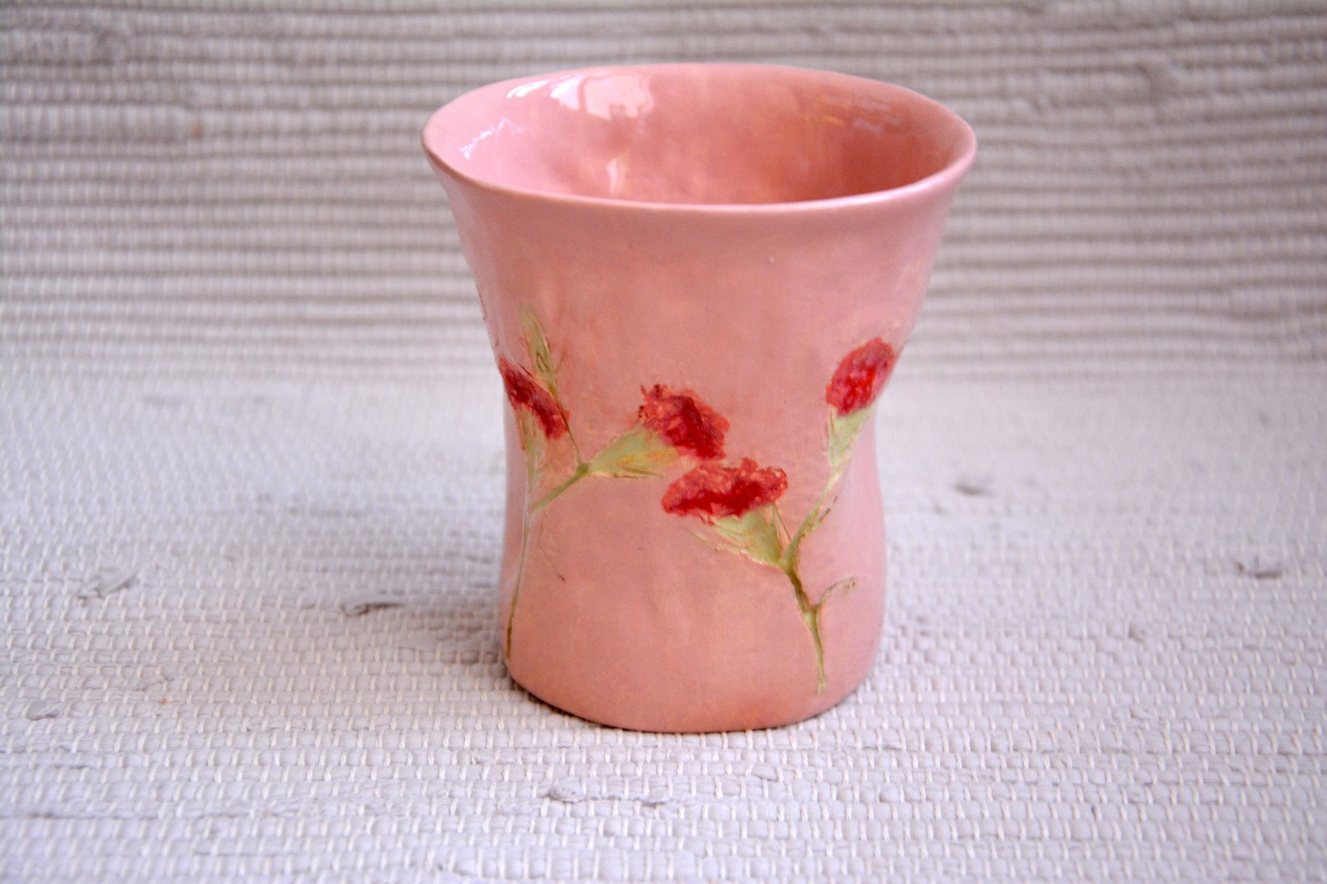 Pink glass The Carnation - Cups, glasses, mugs, height - 11 cm, diameter at the top - 10 cm, diameter on the bottom - 7 cm., photo 1 of 3.