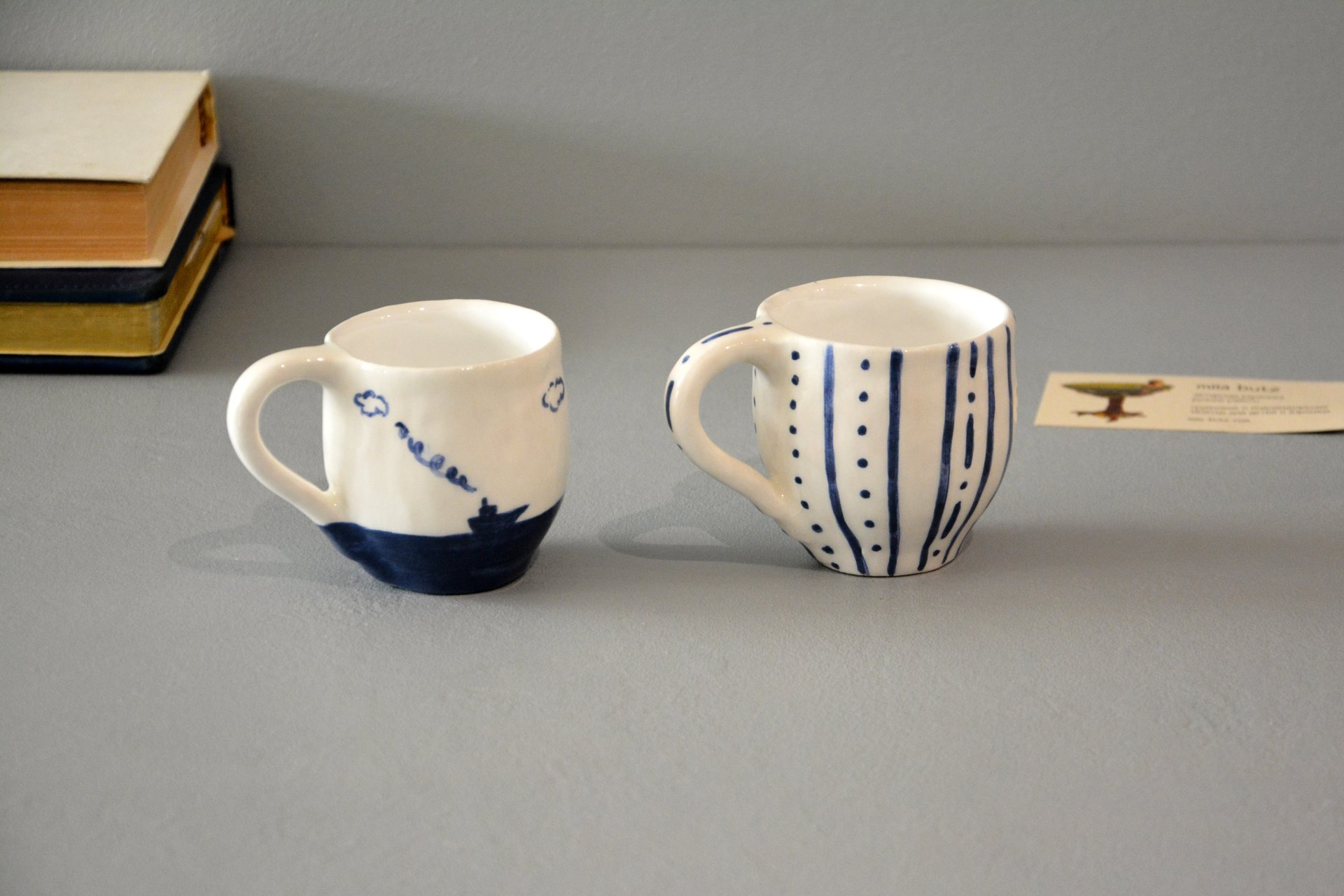 Pair of white cups for espresso, 100 ml and 150 ml, photo 4 of 5.