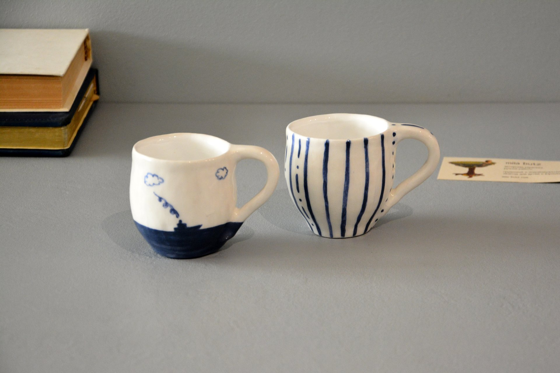 Pair of white cups for espresso, 100 ml and 150 ml, photo 1 of 5.