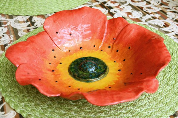 Fruit Dish Poppy 1 - Ceramic dishes, max diameter - 30 cm, height - 7 cm, photo 5 of 5.