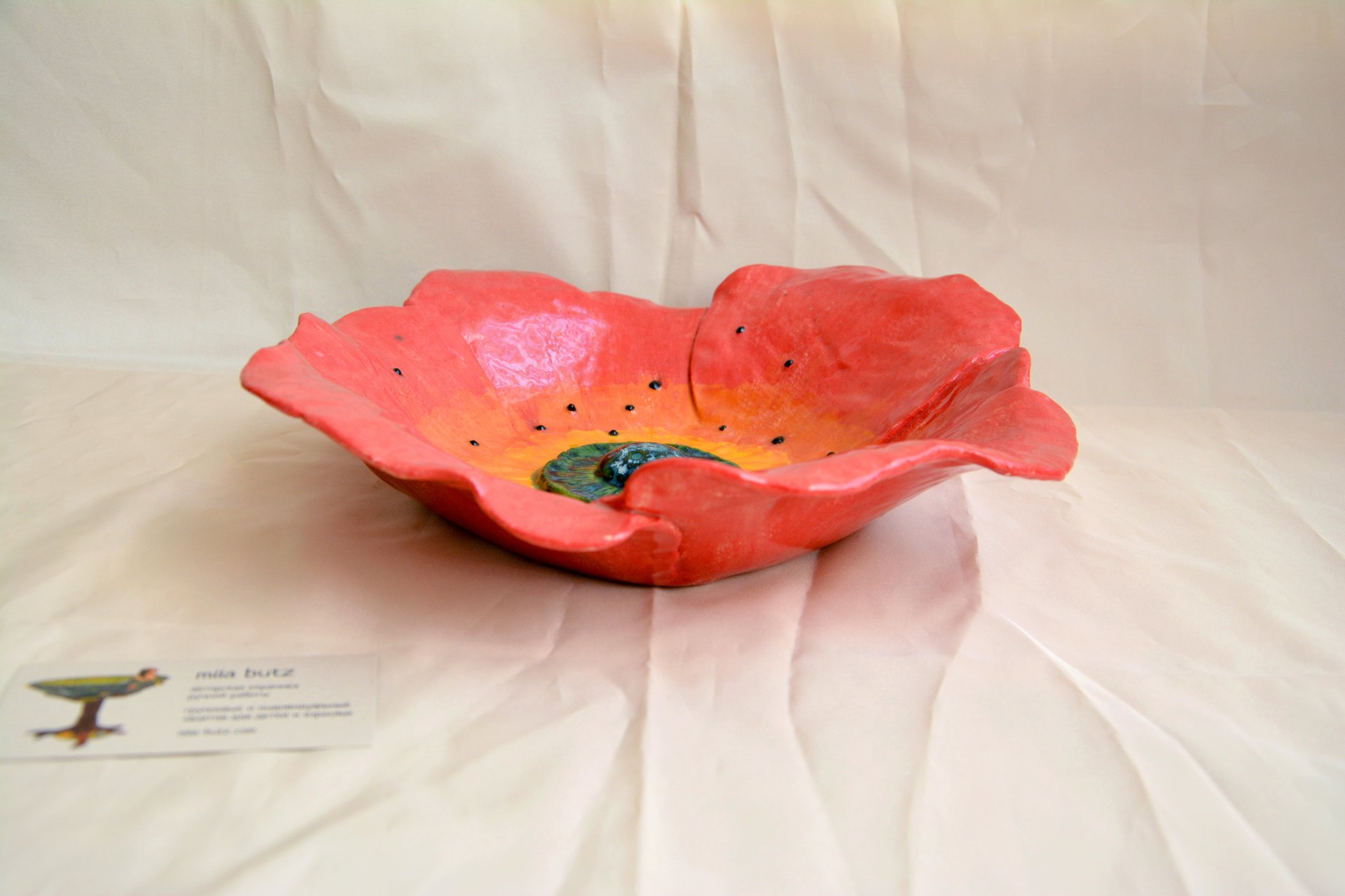 Fruit Dish Poppy 1 - Ceramic dishes, max diameter - 30 cm, height - 7 cm, photo 4 of 5.