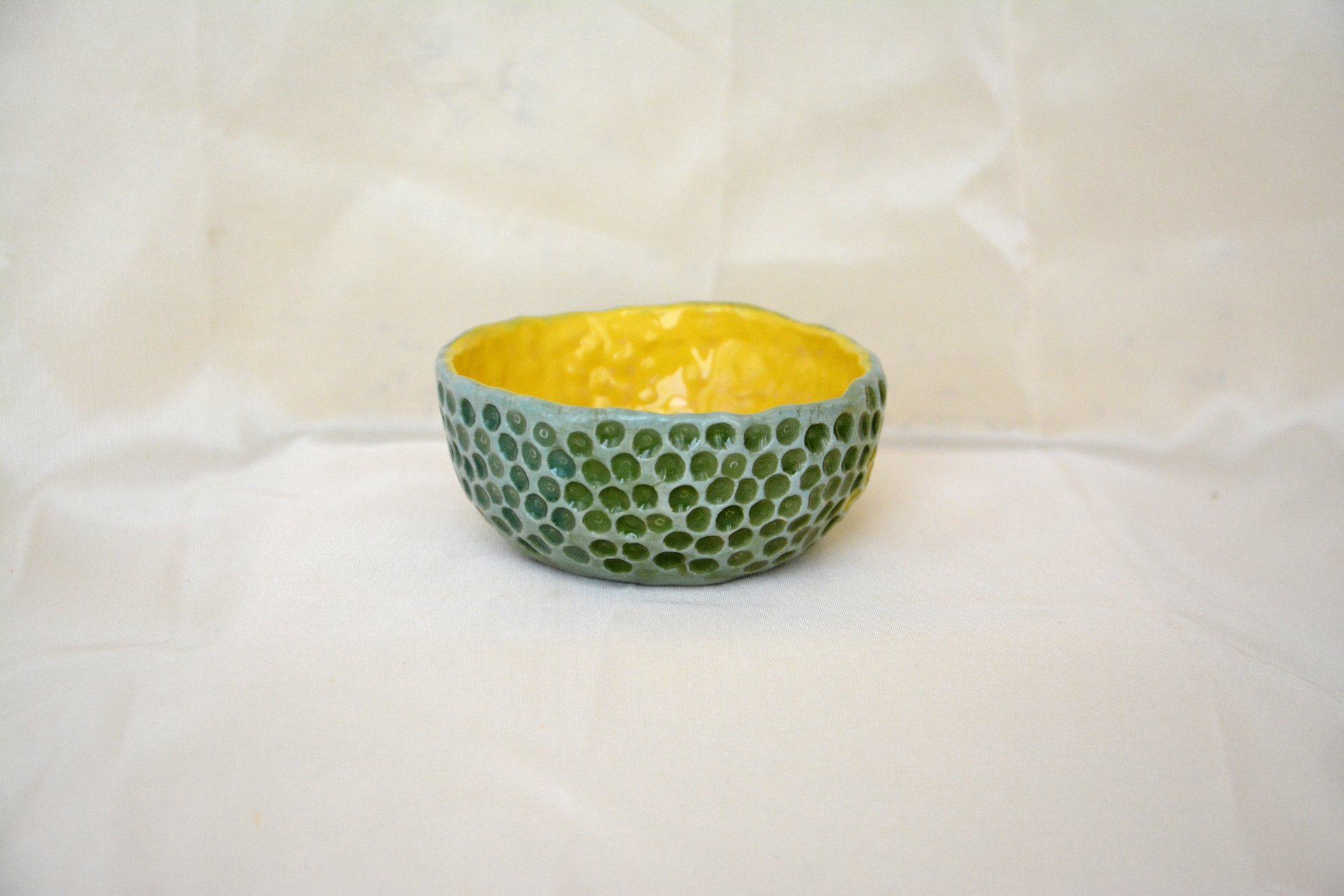 Yellow-blue with textured dots - Pialy and sauceboats, height - 3.5 cm, diameter - 8.5 cm, photo 2 of 3.