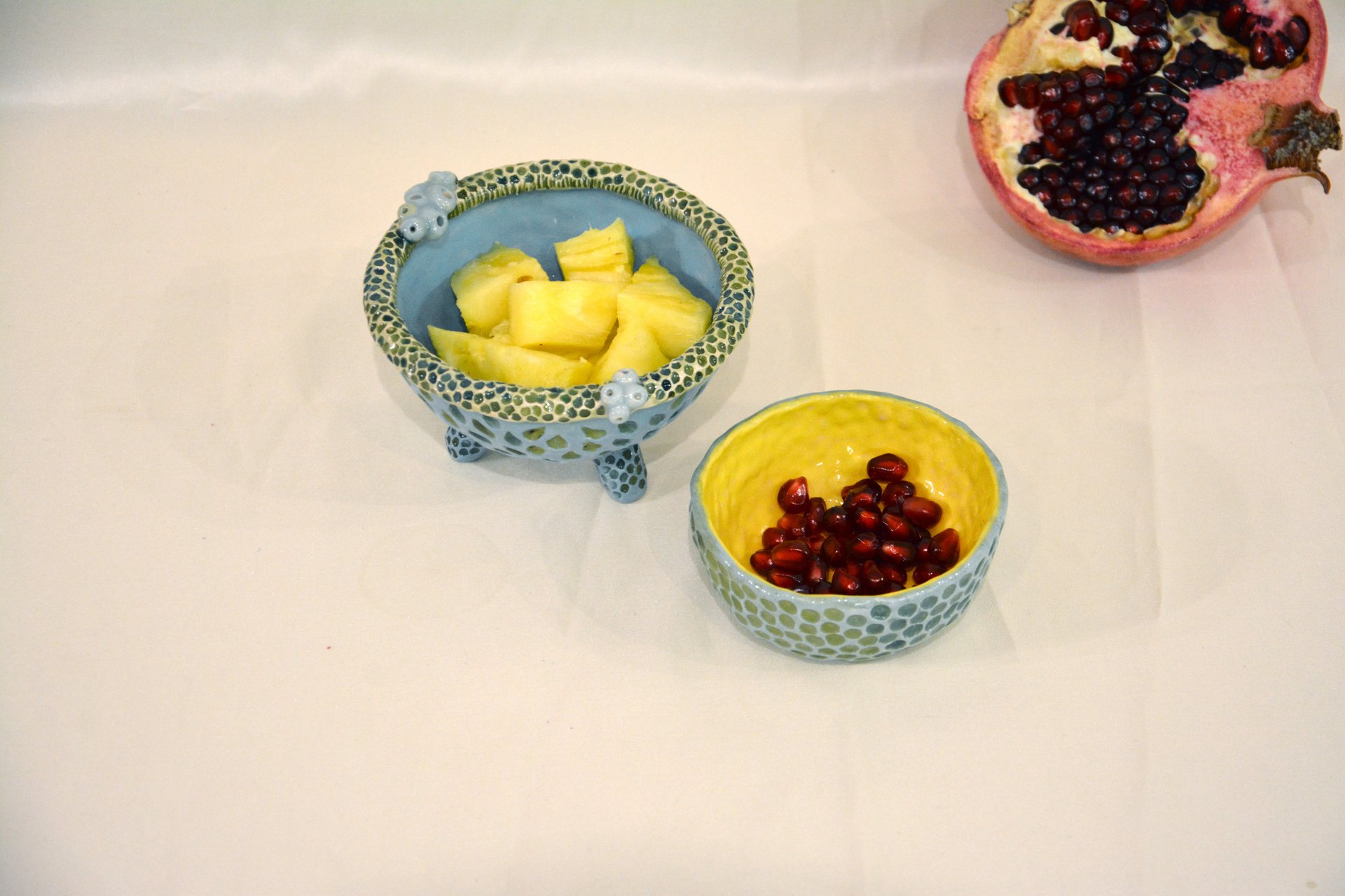 Yellow-blue with textured dots - Pialy and sauceboats, height - 3.5 cm, diameter - 8.5 cm, photo 3 of 3.