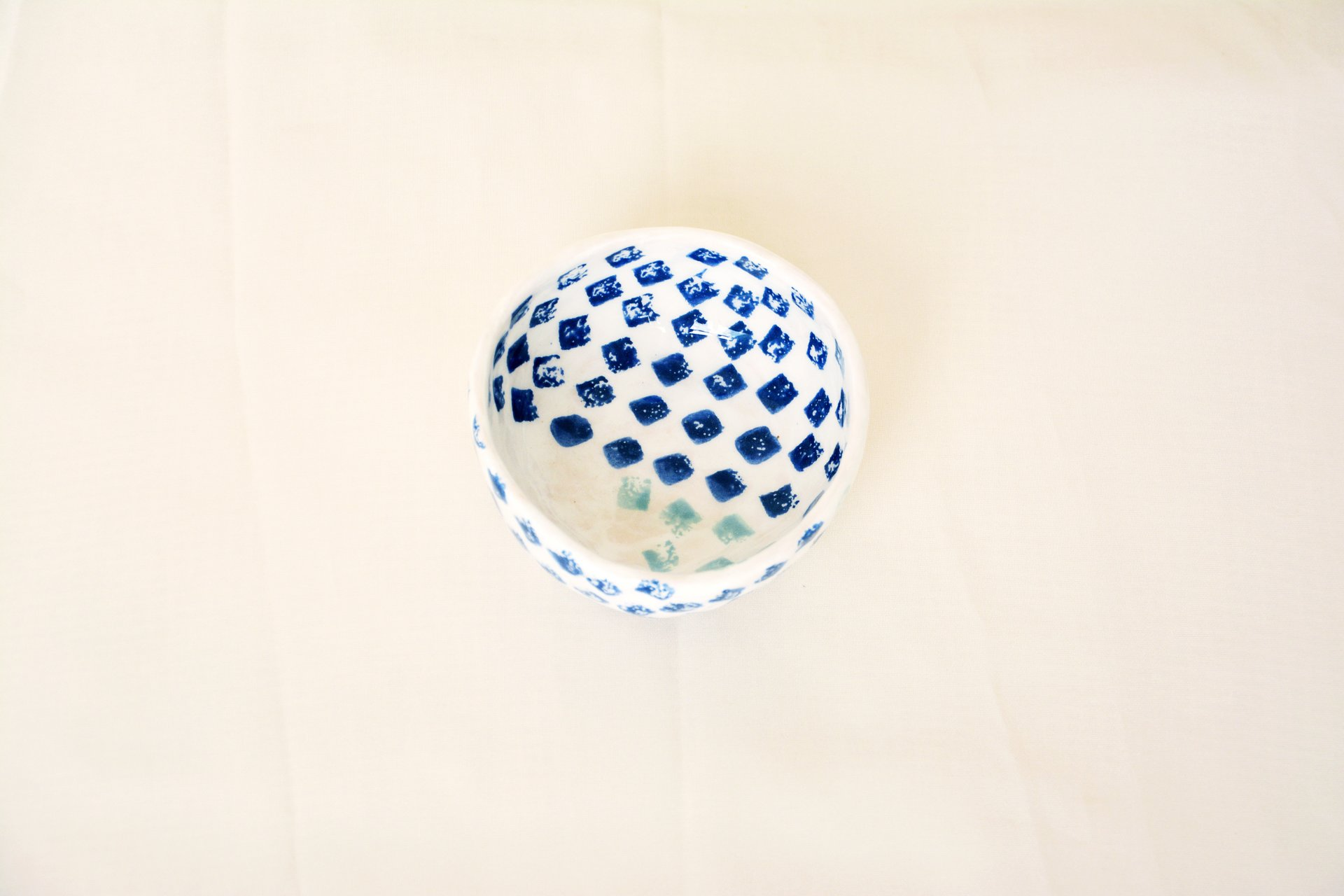 Blue squares on white - Сeramic Plates, height - 4 cm, diameter - 9.5 cm, photo 1 of 4.