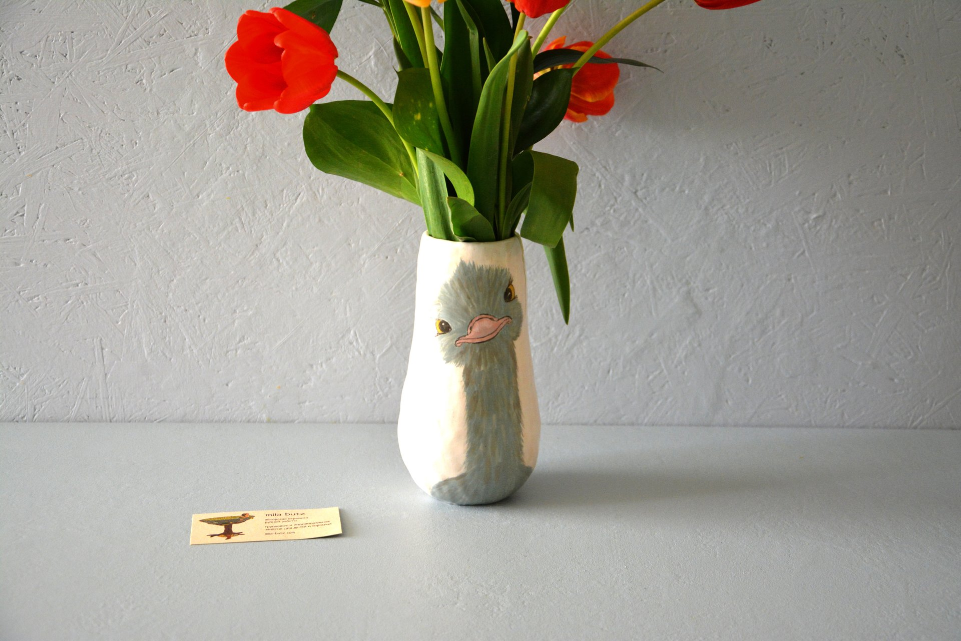 Ceramic hand-painted vase — Ostrich, height - 18 cm, photo 5 of 5. 565.